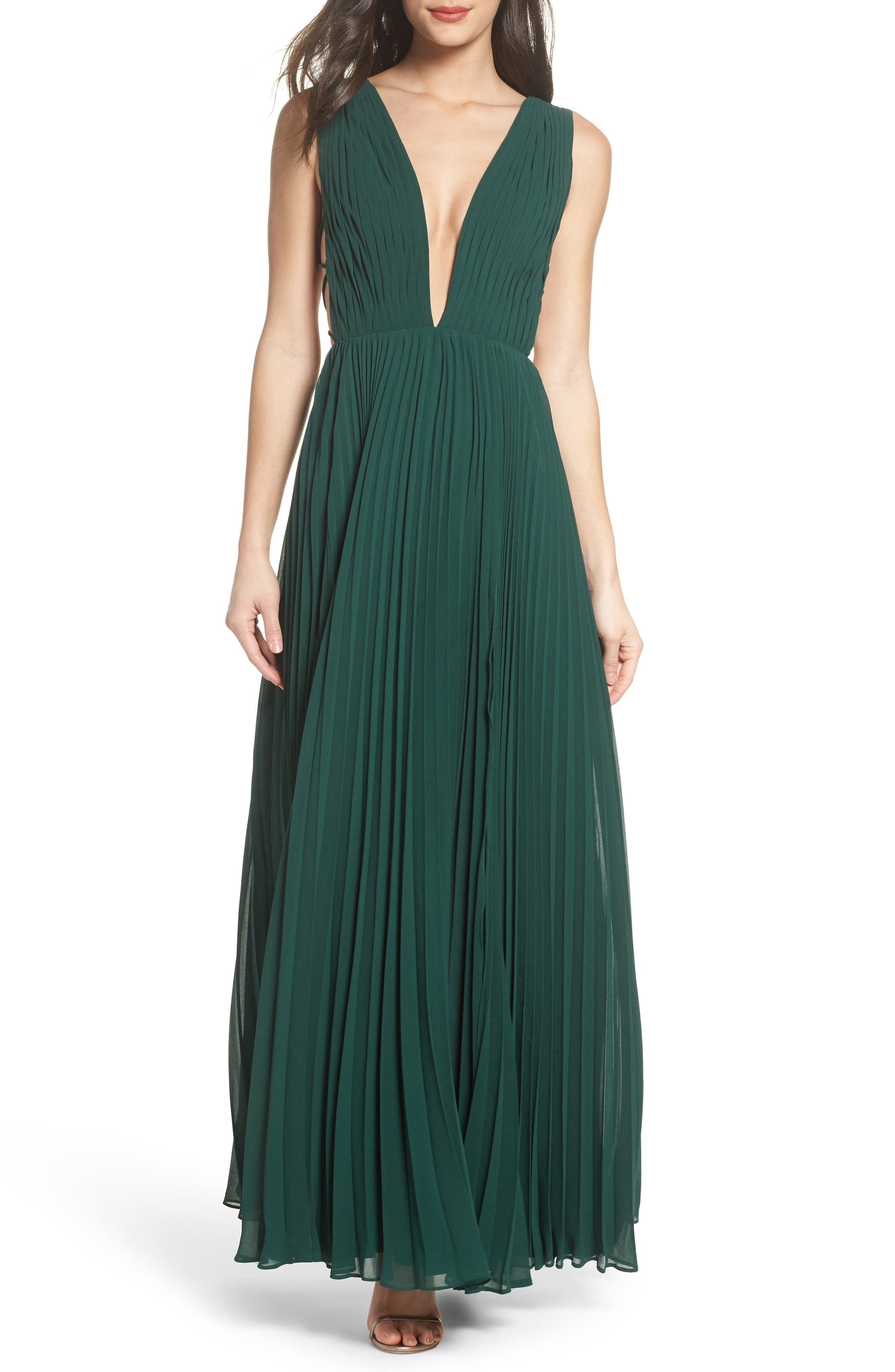 Fame & Partners Allegra Pleat Gown,                             Main thumbnail 1, color,                             Dark Forest