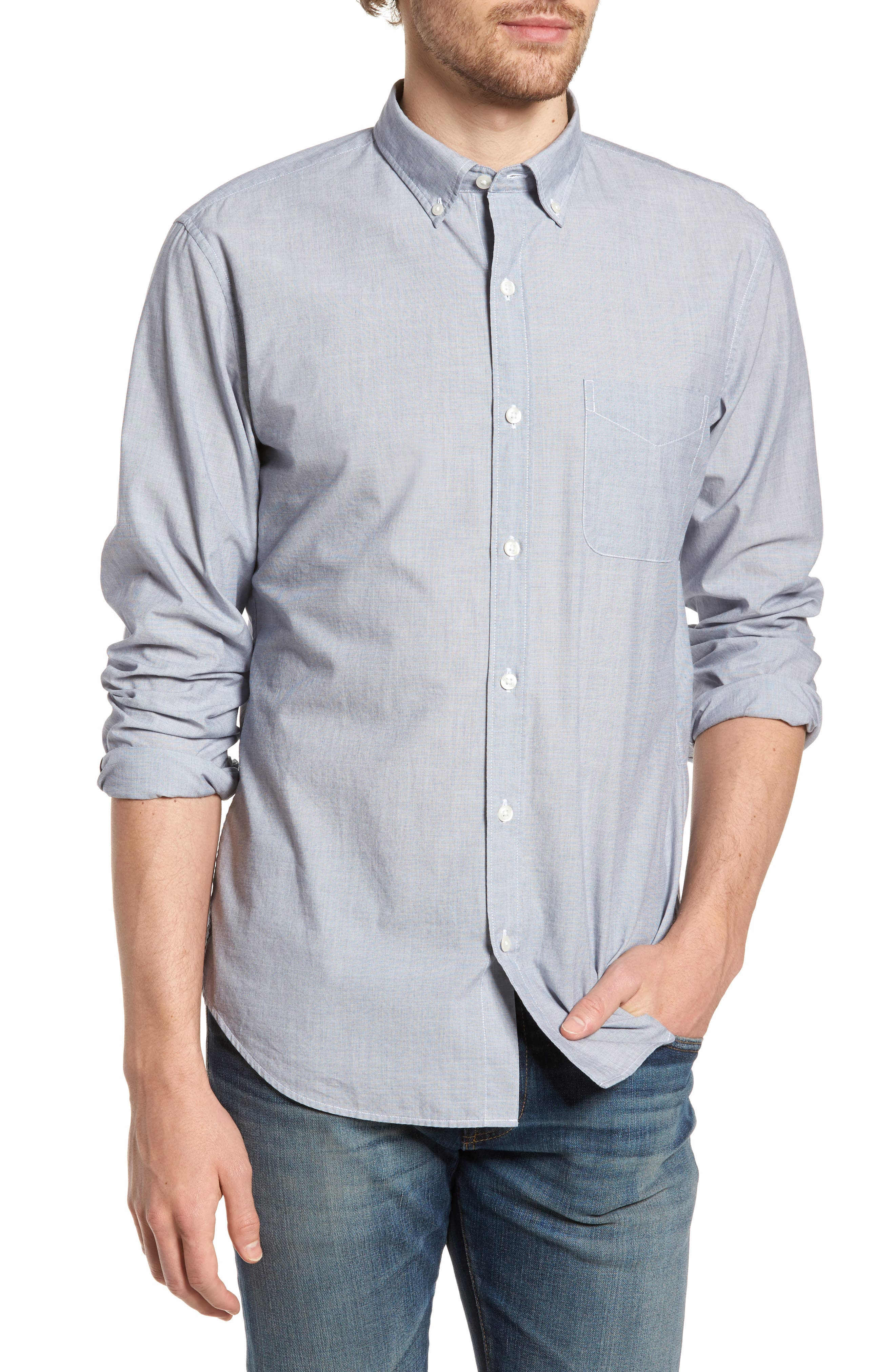 Summerweight Slim Fit Sport Shirt,                         Main,                         color, End On End Solid - Blue Depths