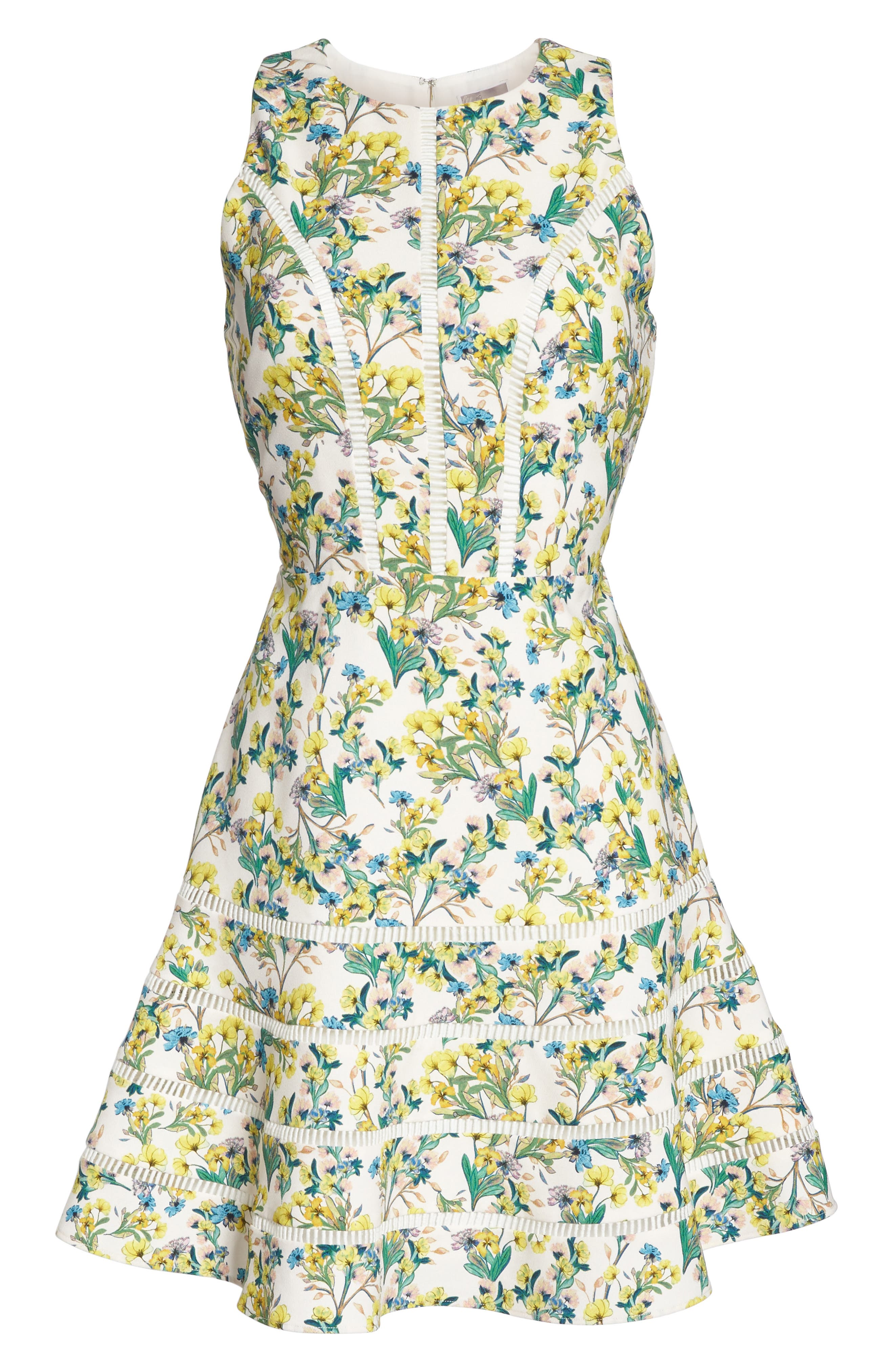 Lace Detail Fit & Flare Dress,                             Alternate thumbnail 6, color,                             Ivory Lucy Floral