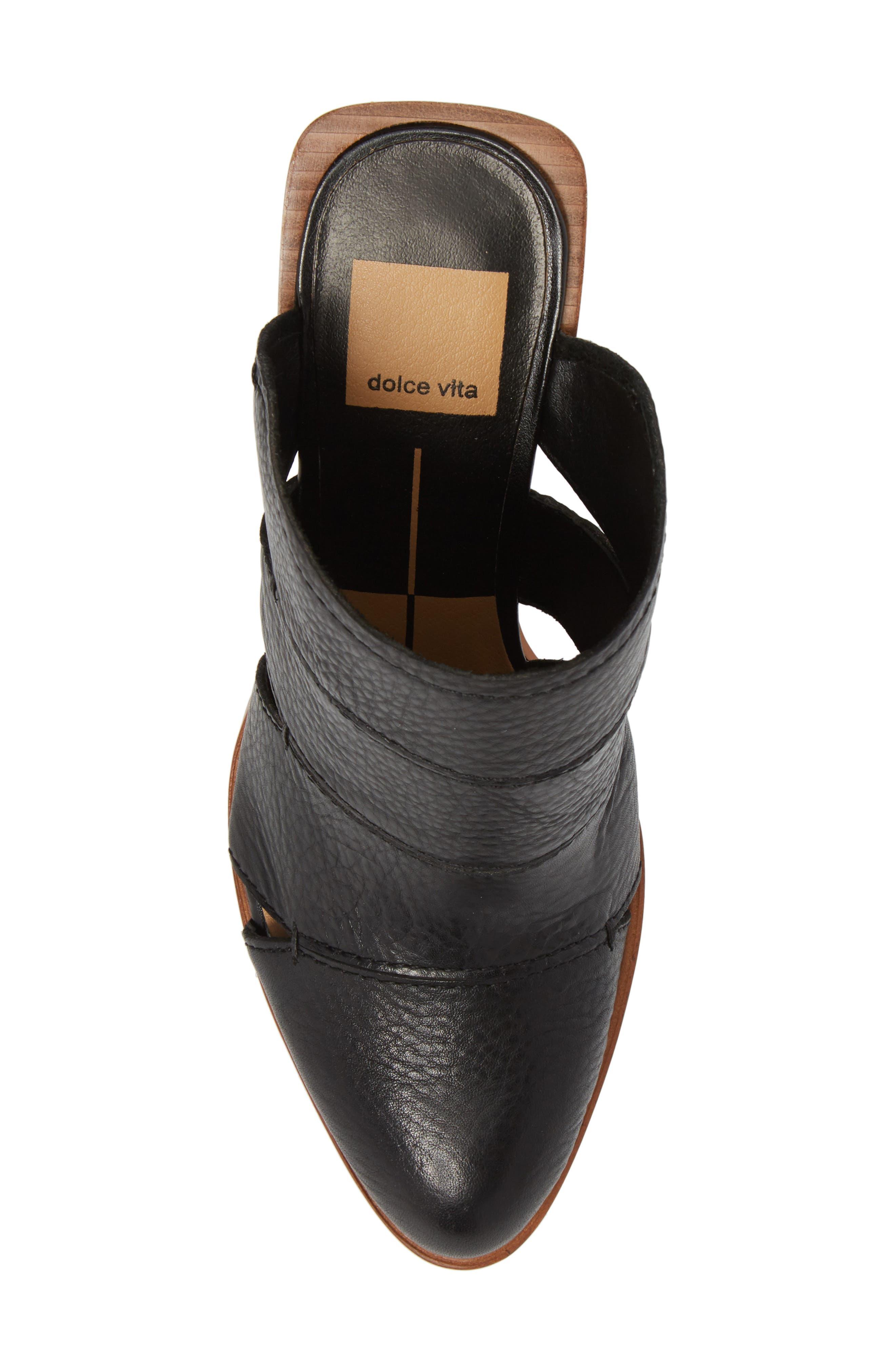 Makeo Mule,                             Alternate thumbnail 5, color,                             Black Leather