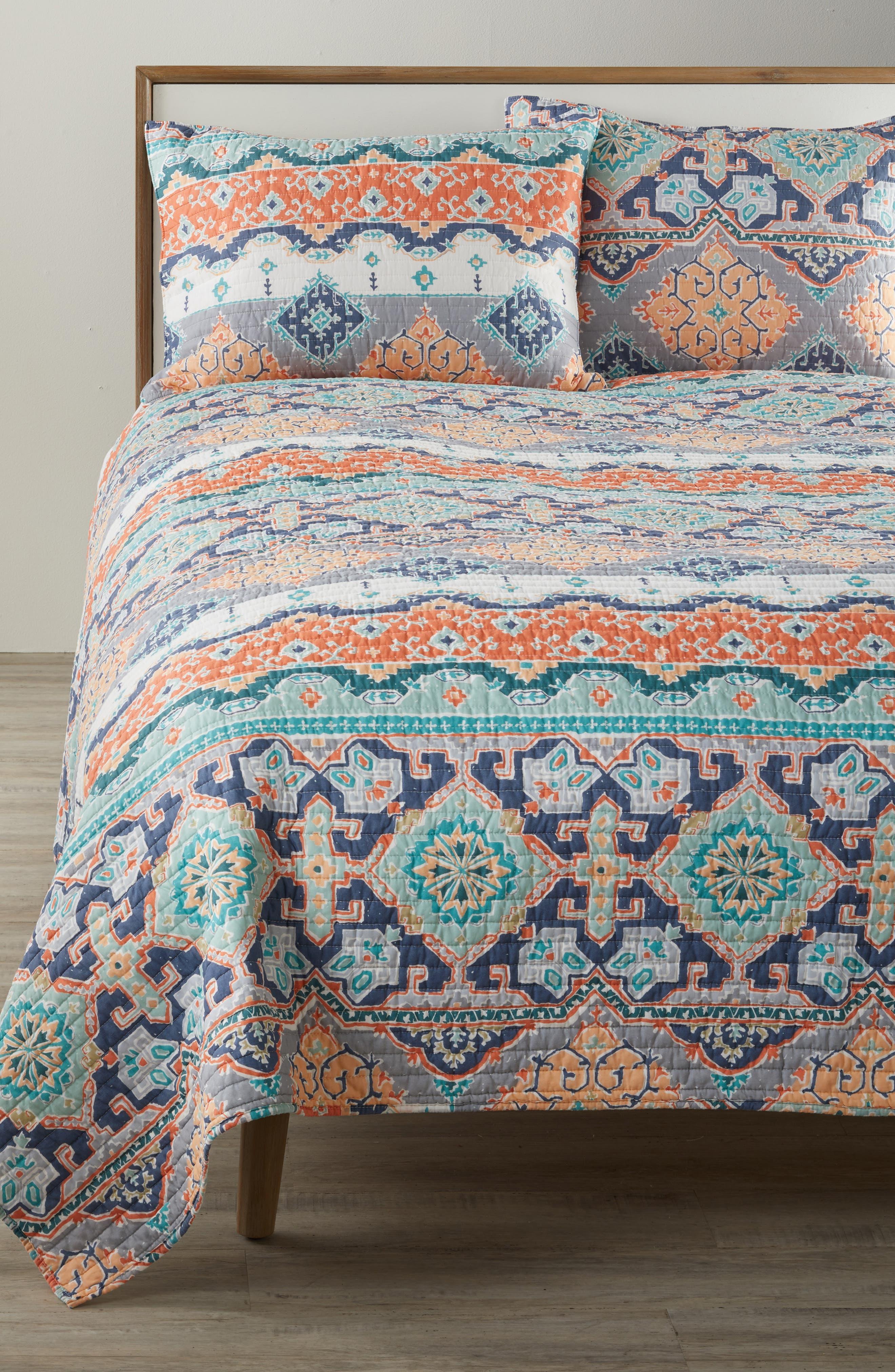 Saida Reversible Quilt,                             Alternate thumbnail 3, color,                             Orange Multi