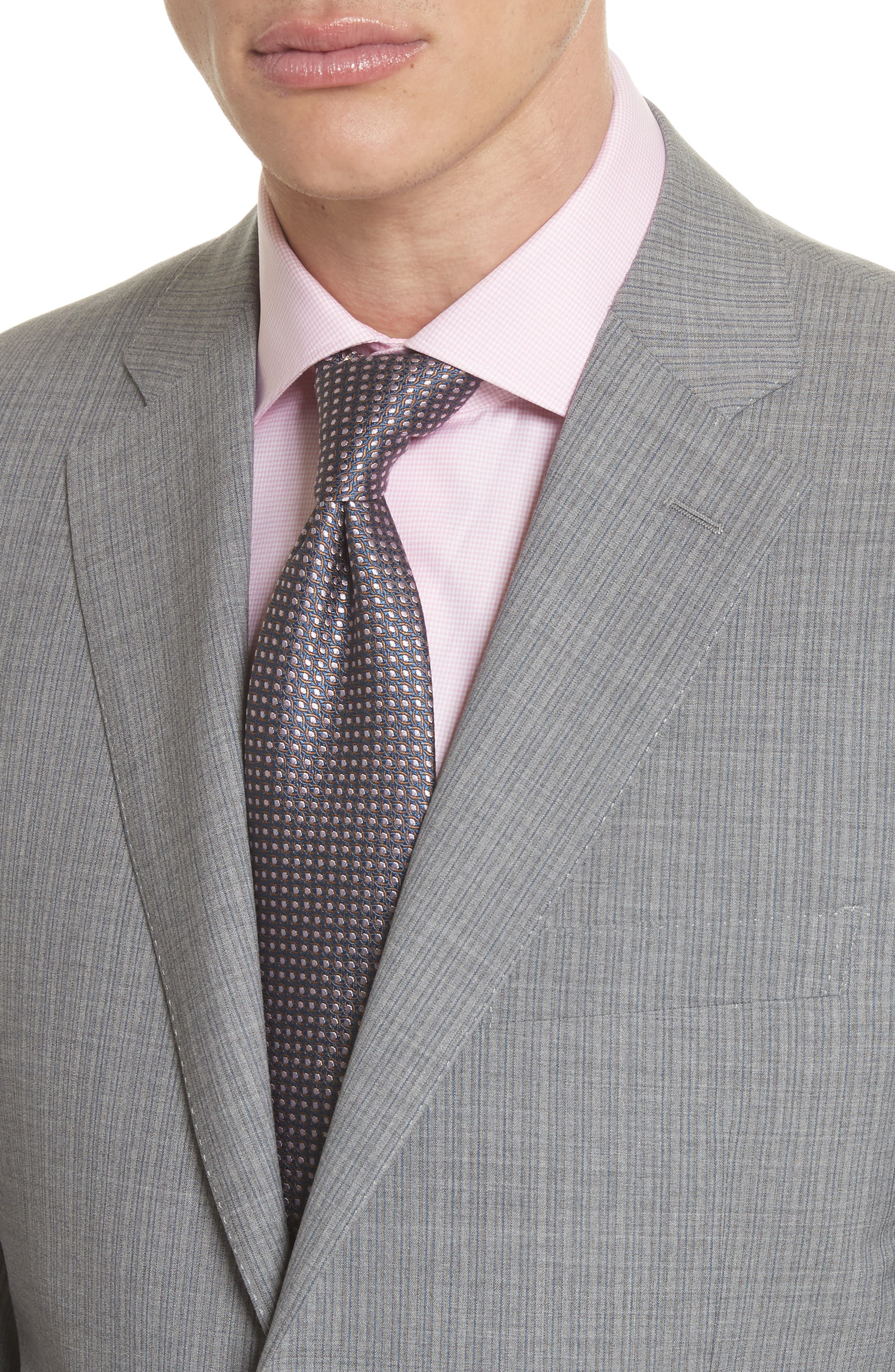 Classic Fit Stripe Wool Suit,                             Alternate thumbnail 6, color,                             Grey