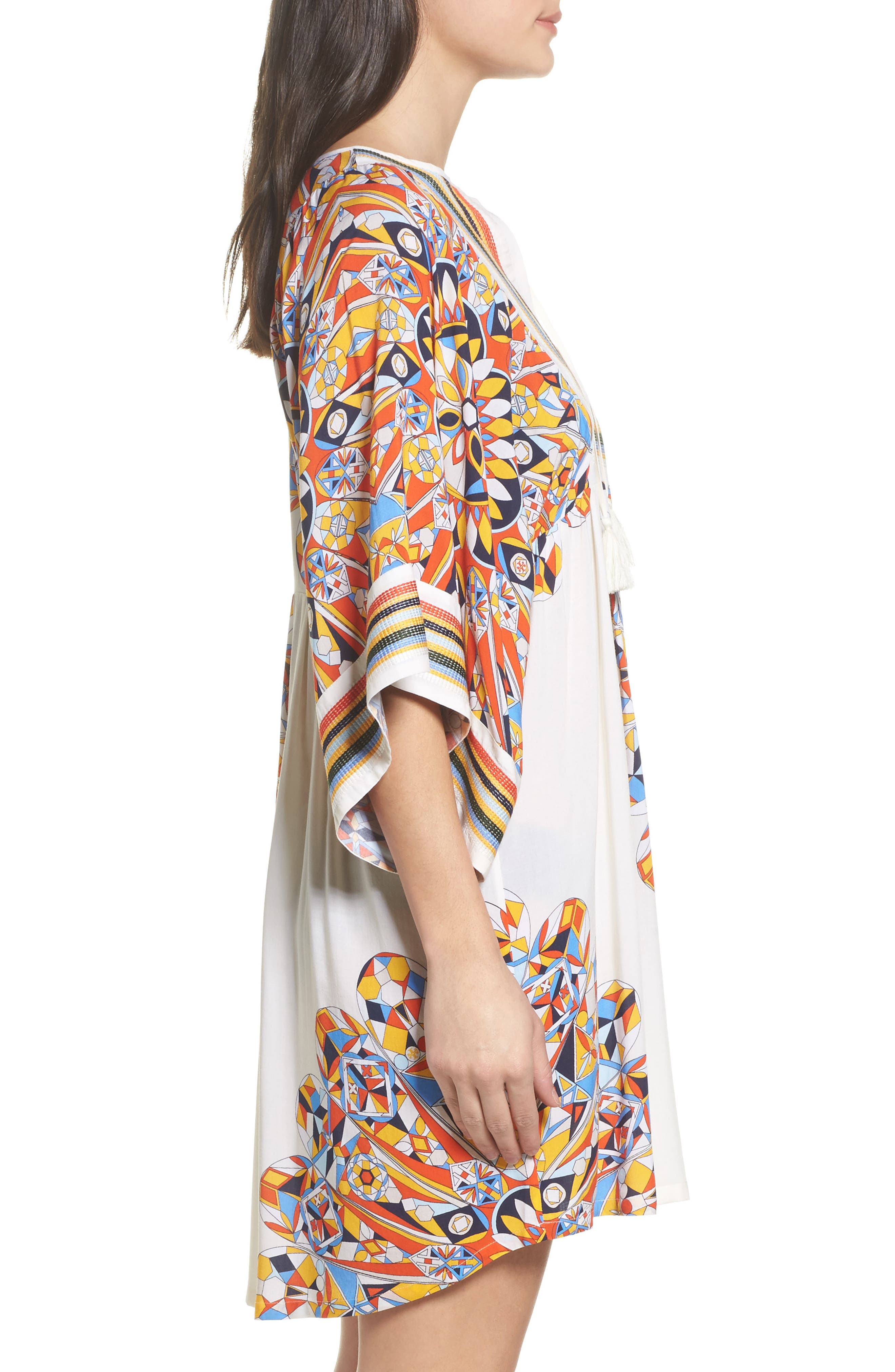 Geometric Tunic Cover-Up,                             Alternate thumbnail 3, color,                             Sweet Tangerine Psychedelic