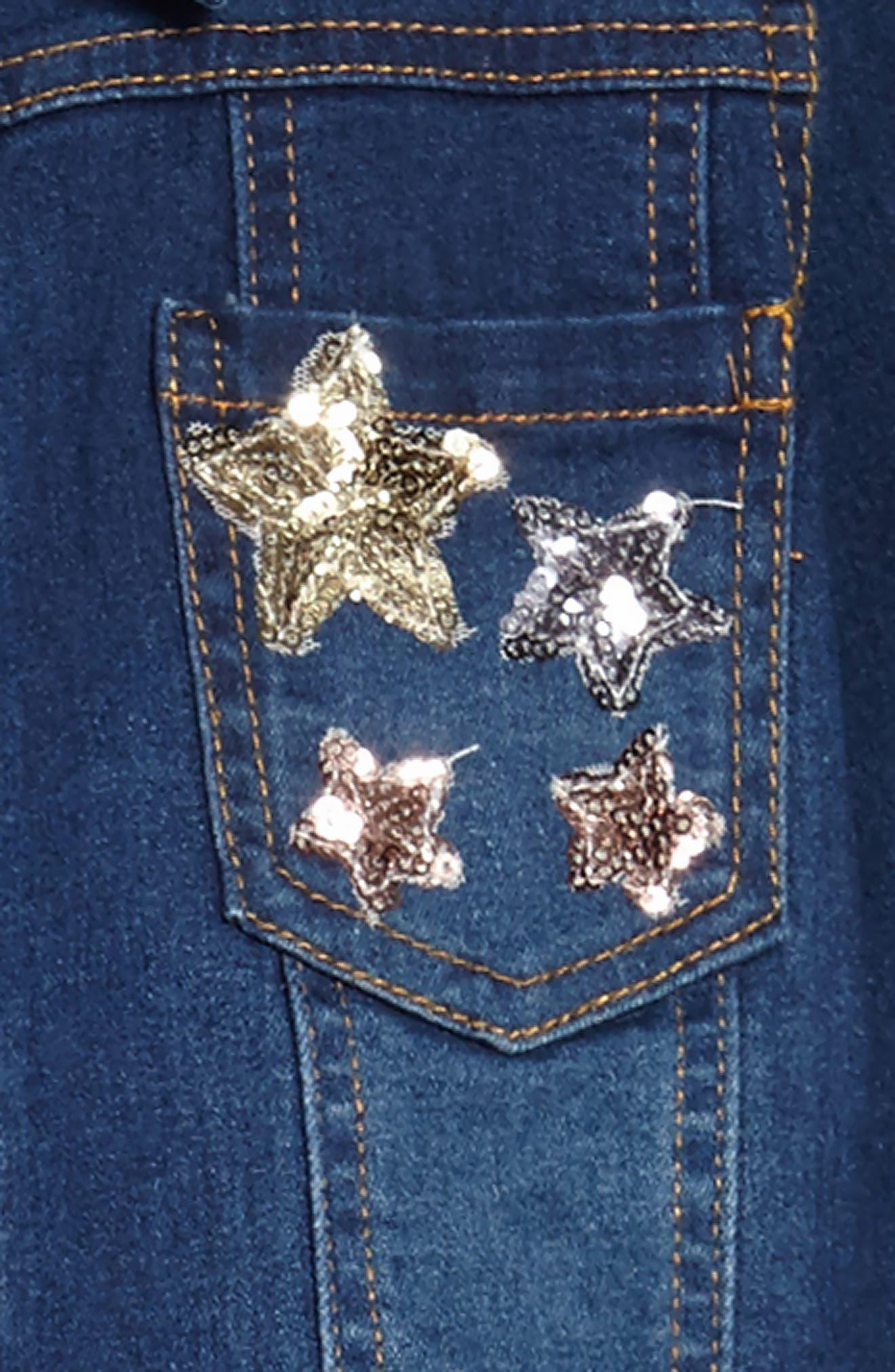 Sequin Star Tank Dress & Denim Jacket Set,                             Alternate thumbnail 4, color,                             Denim