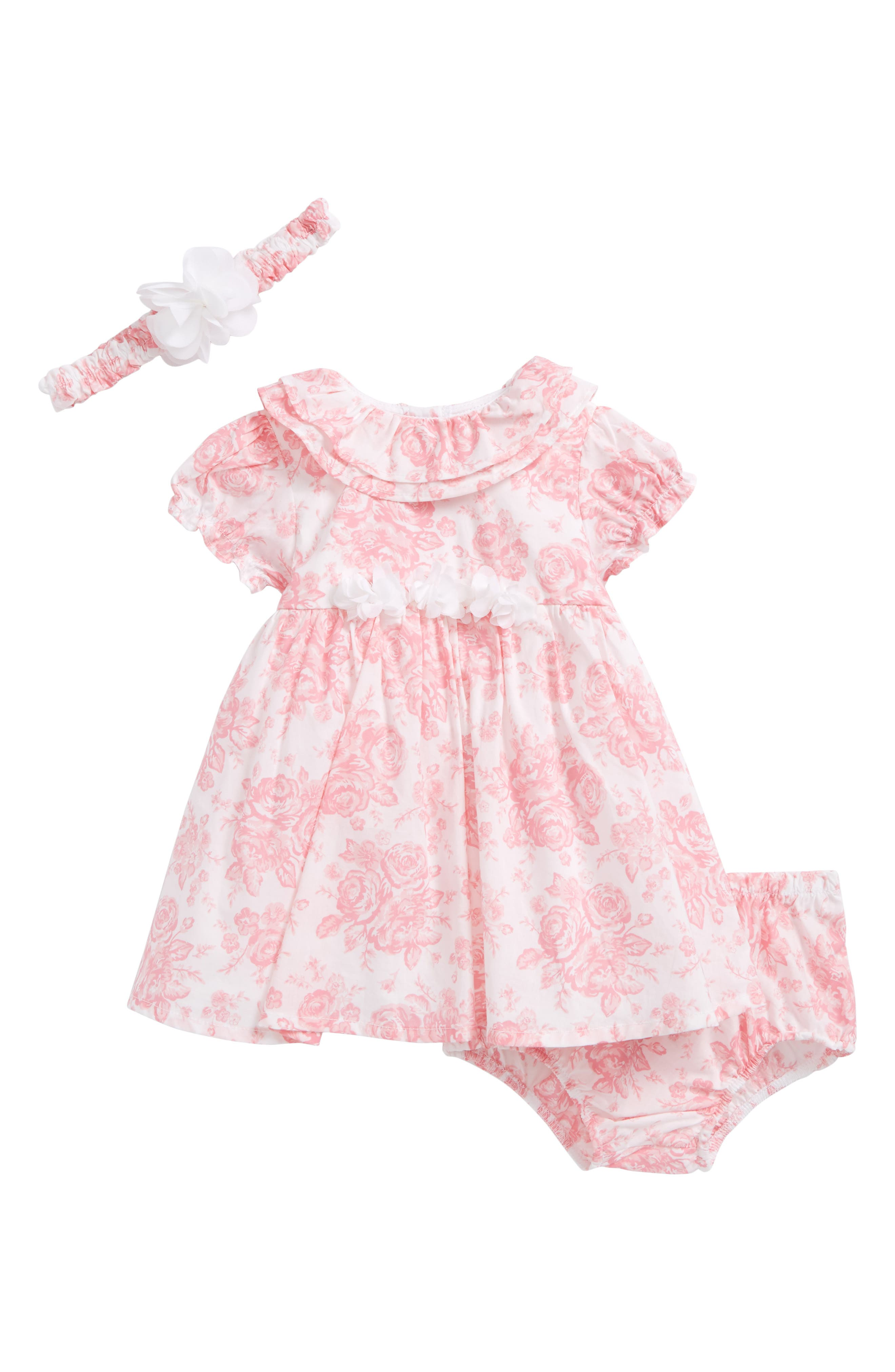 Rose Bouquet Dress & Headband Set,                             Main thumbnail 1, color,                             White/ Pink