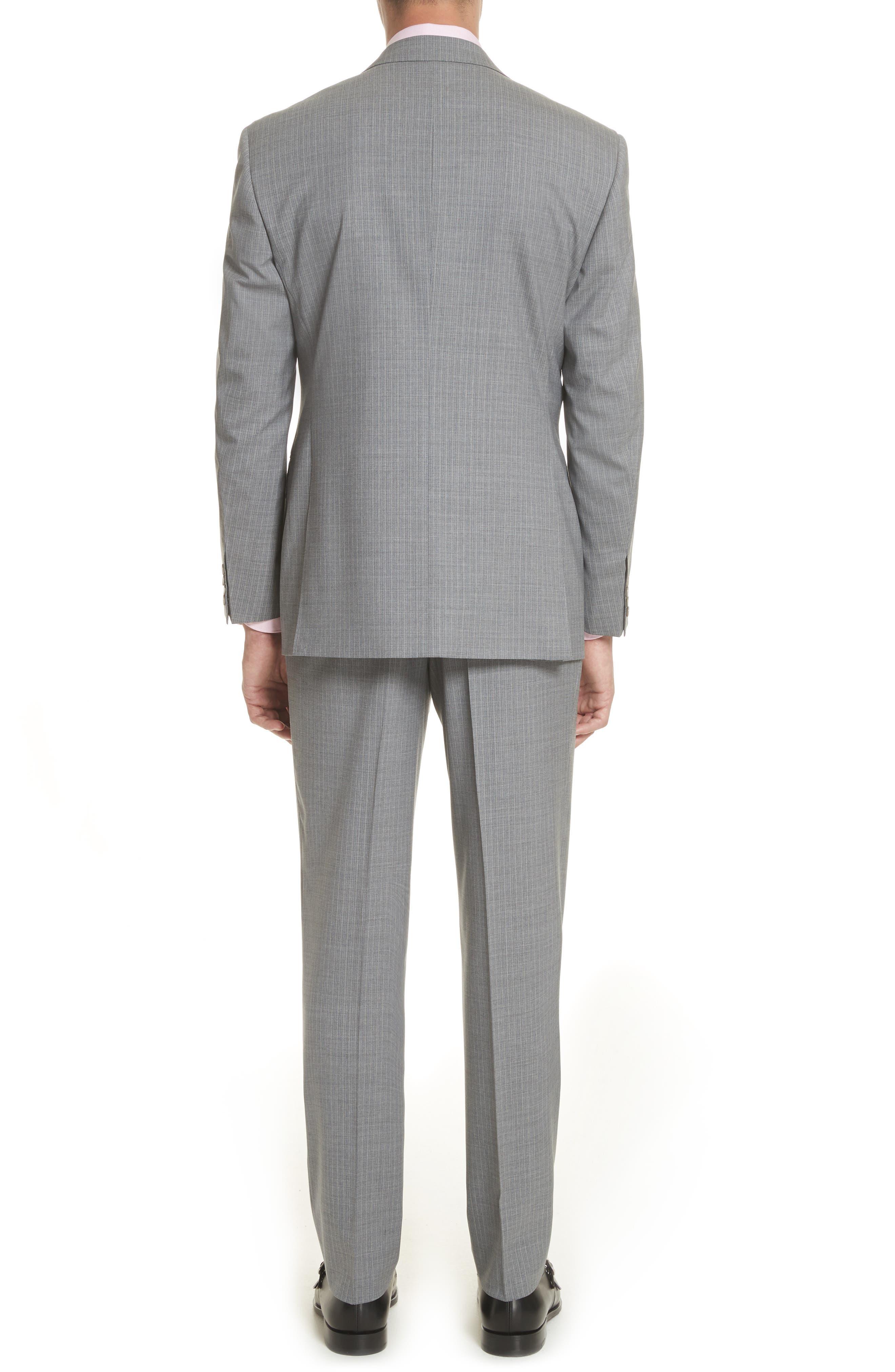 Classic Fit Stripe Wool Suit,                             Alternate thumbnail 4, color,                             Grey