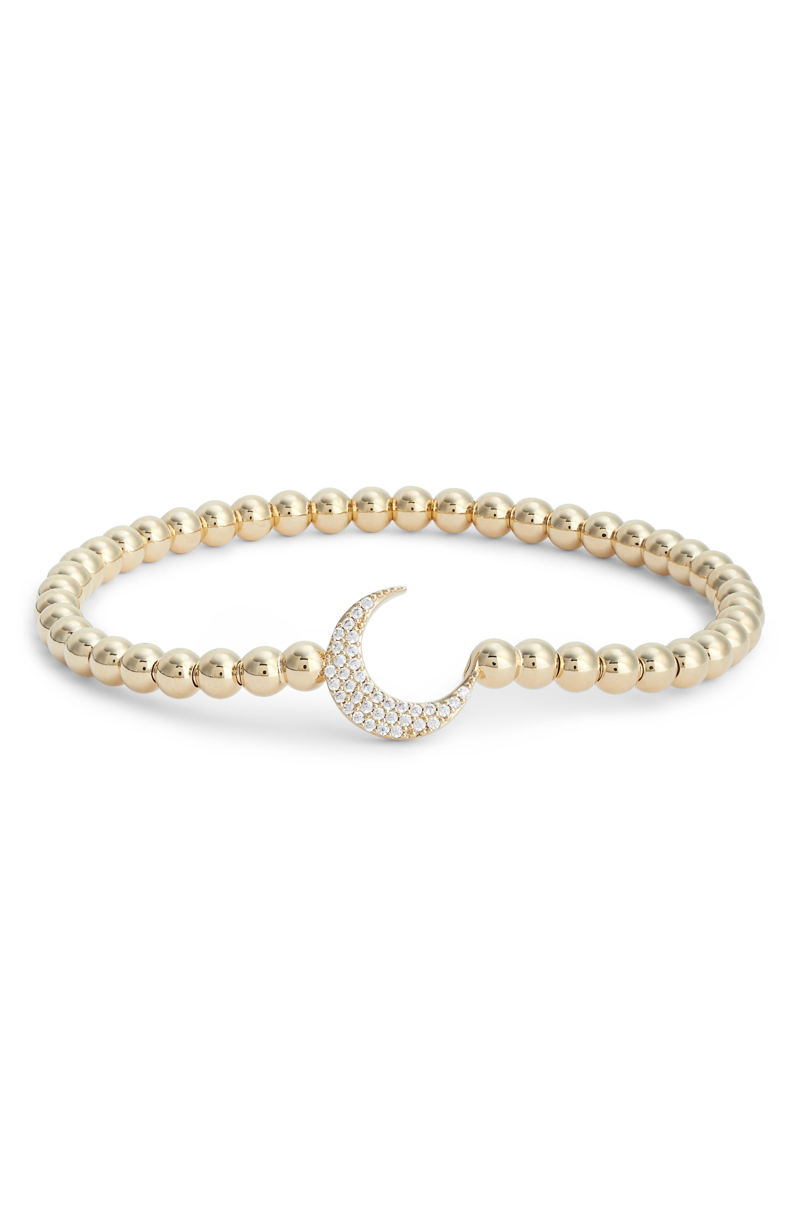 Cubic Zirconia Crescent Moon Circle Bracelet,                             Main thumbnail 1, color,                             Gold/ Clear