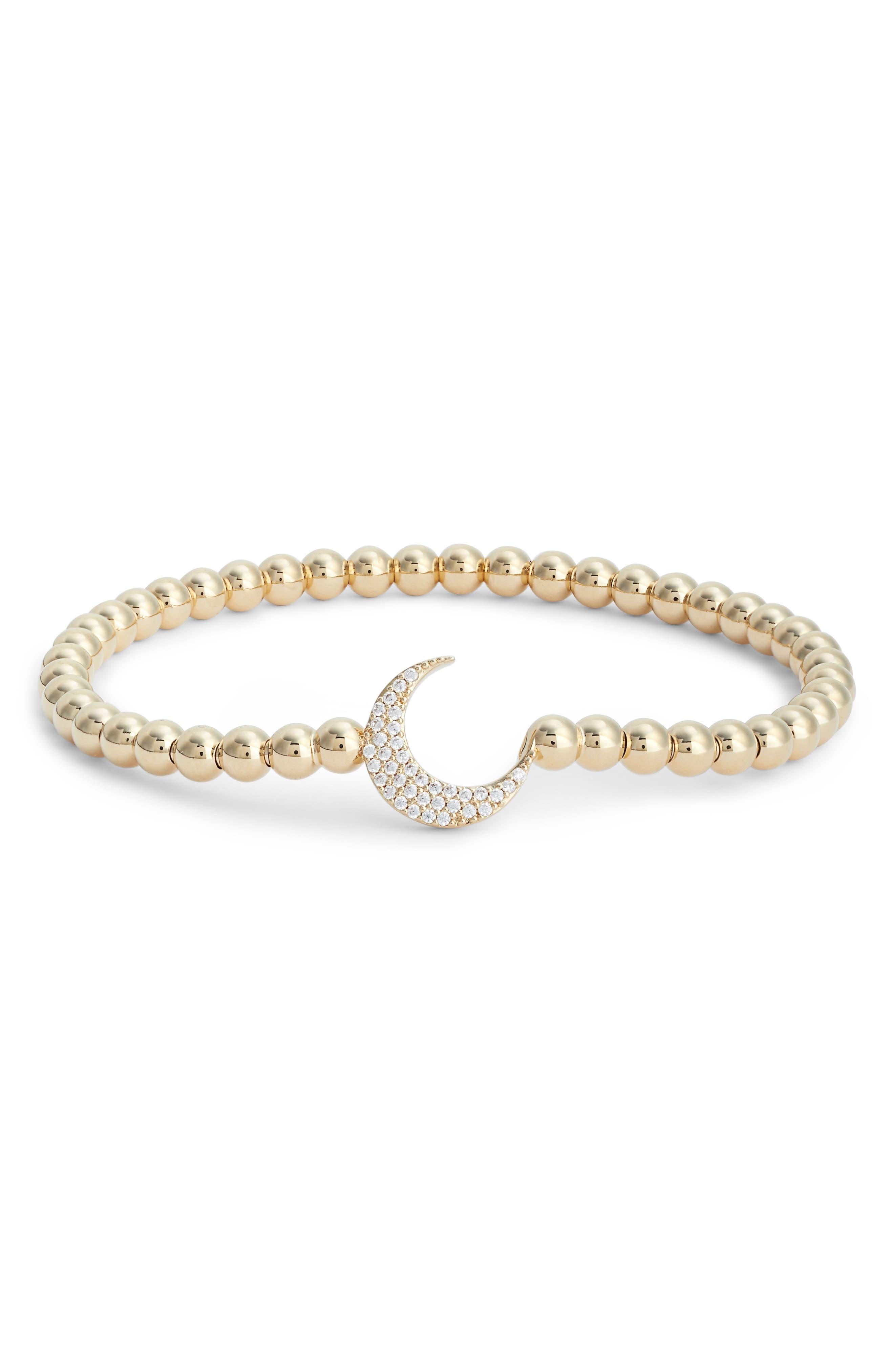 Cubic Zirconia Crescent Moon Circle Bracelet,                         Main,                         color, Gold/ Clear