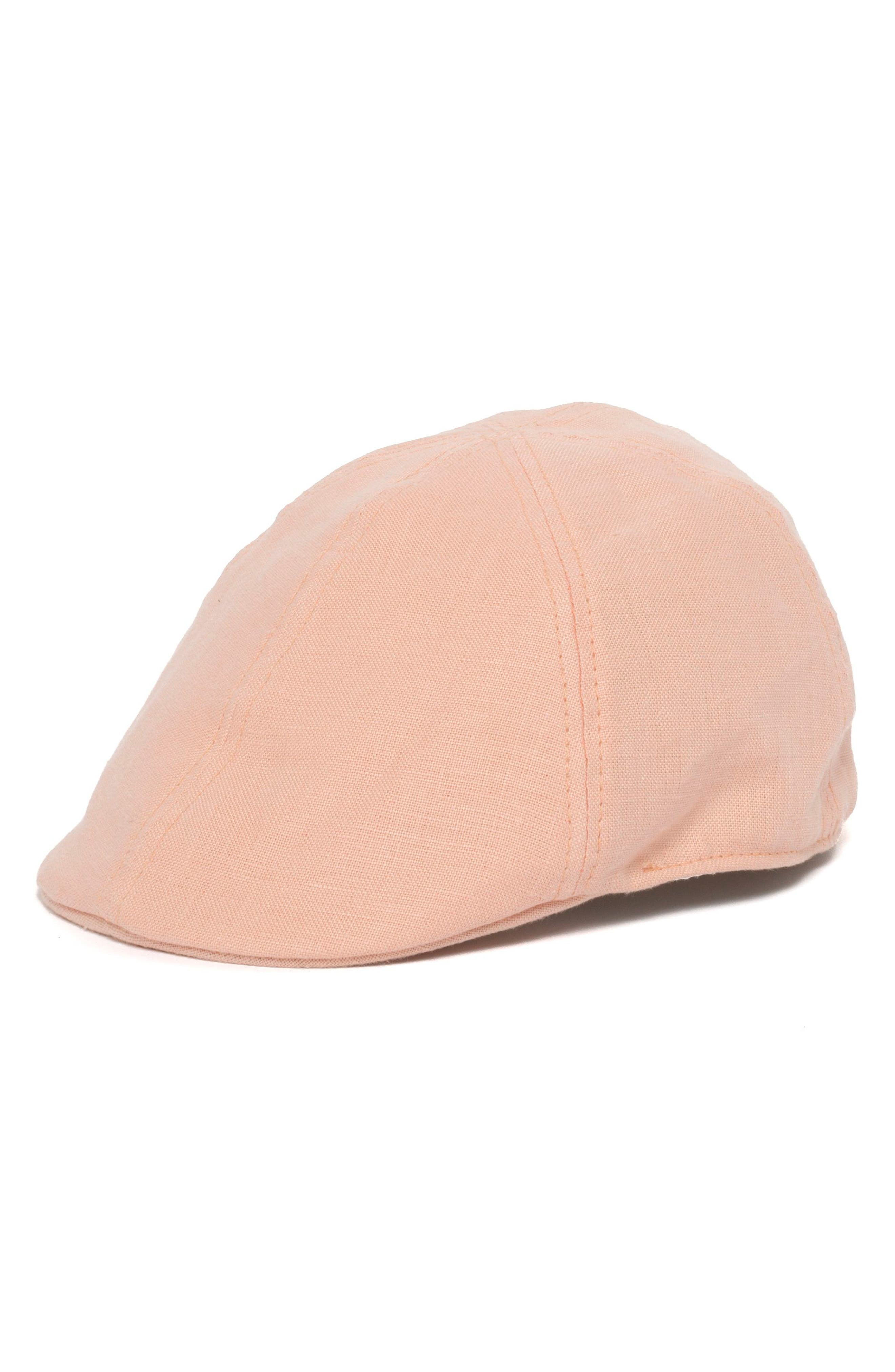 Lacey Linen Driving Cap,                         Main,                         color, Pink