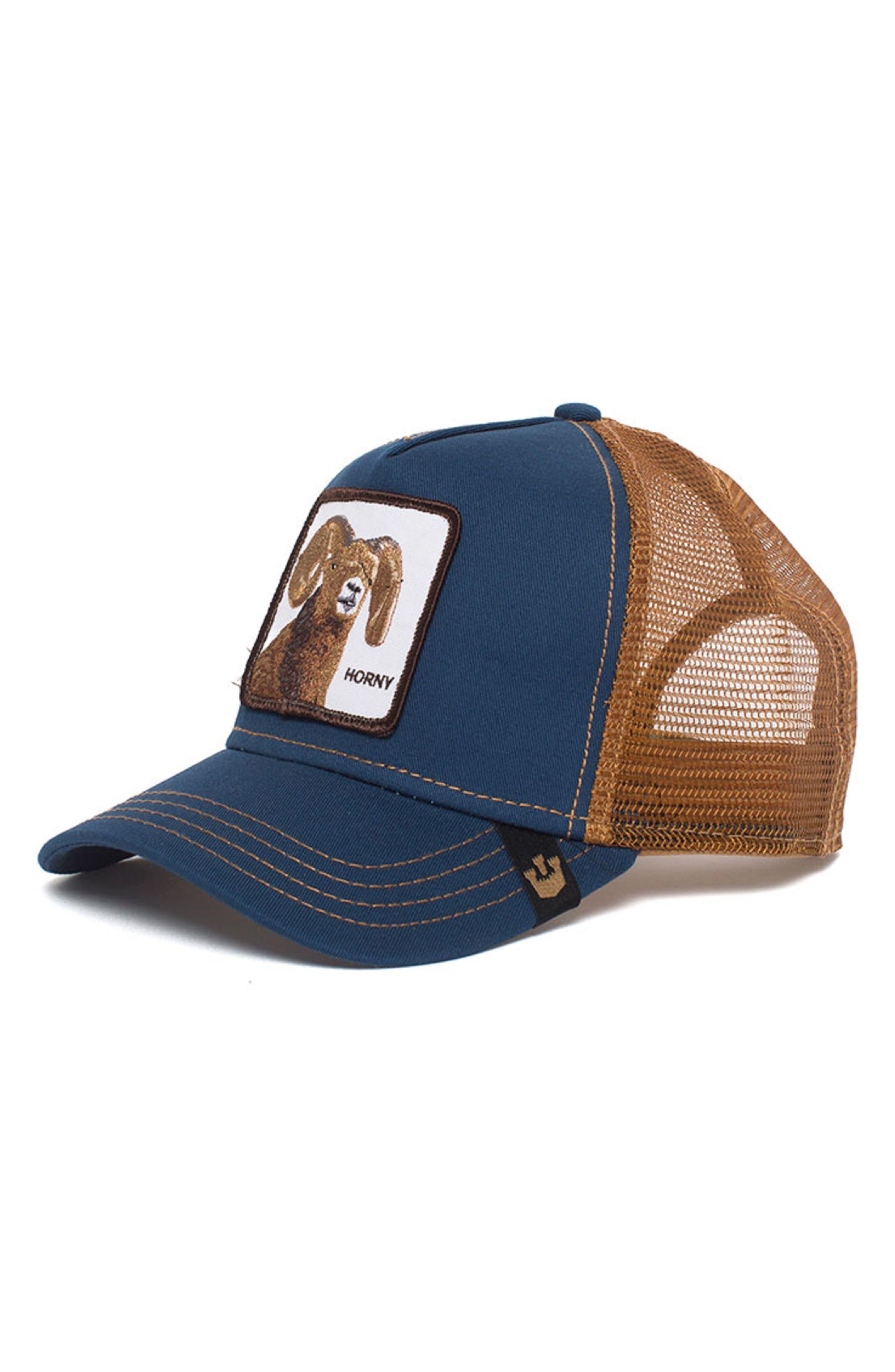 Big Horn Trucker Hat,                         Main,                         color, Navy