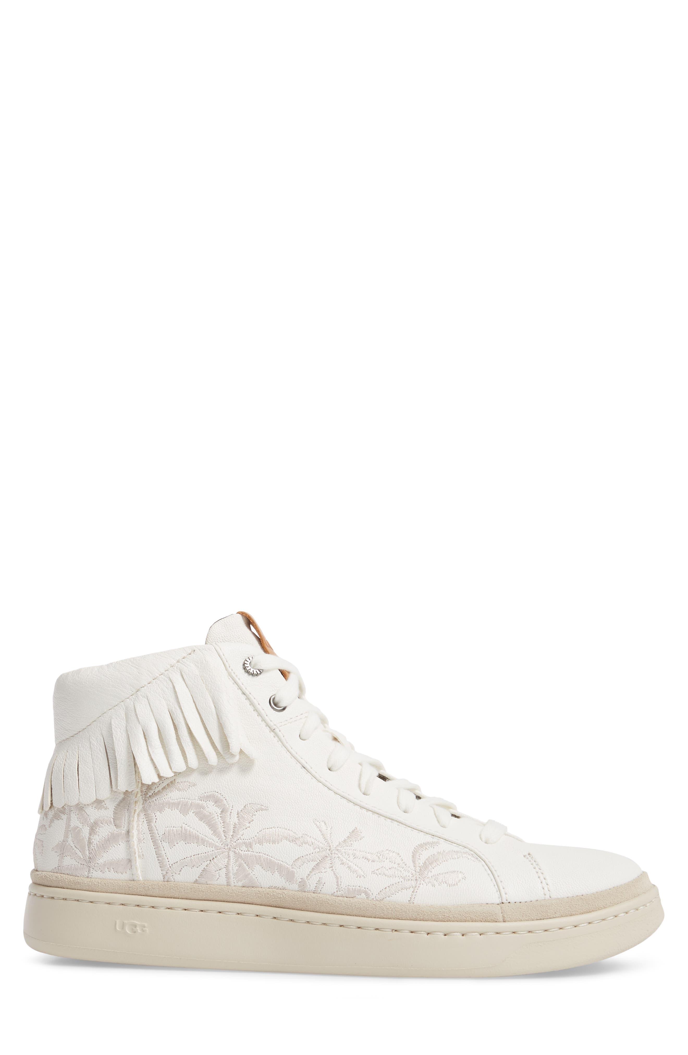 Cali Fringe High Top Sneaker,                             Alternate thumbnail 3, color,                             White Leather