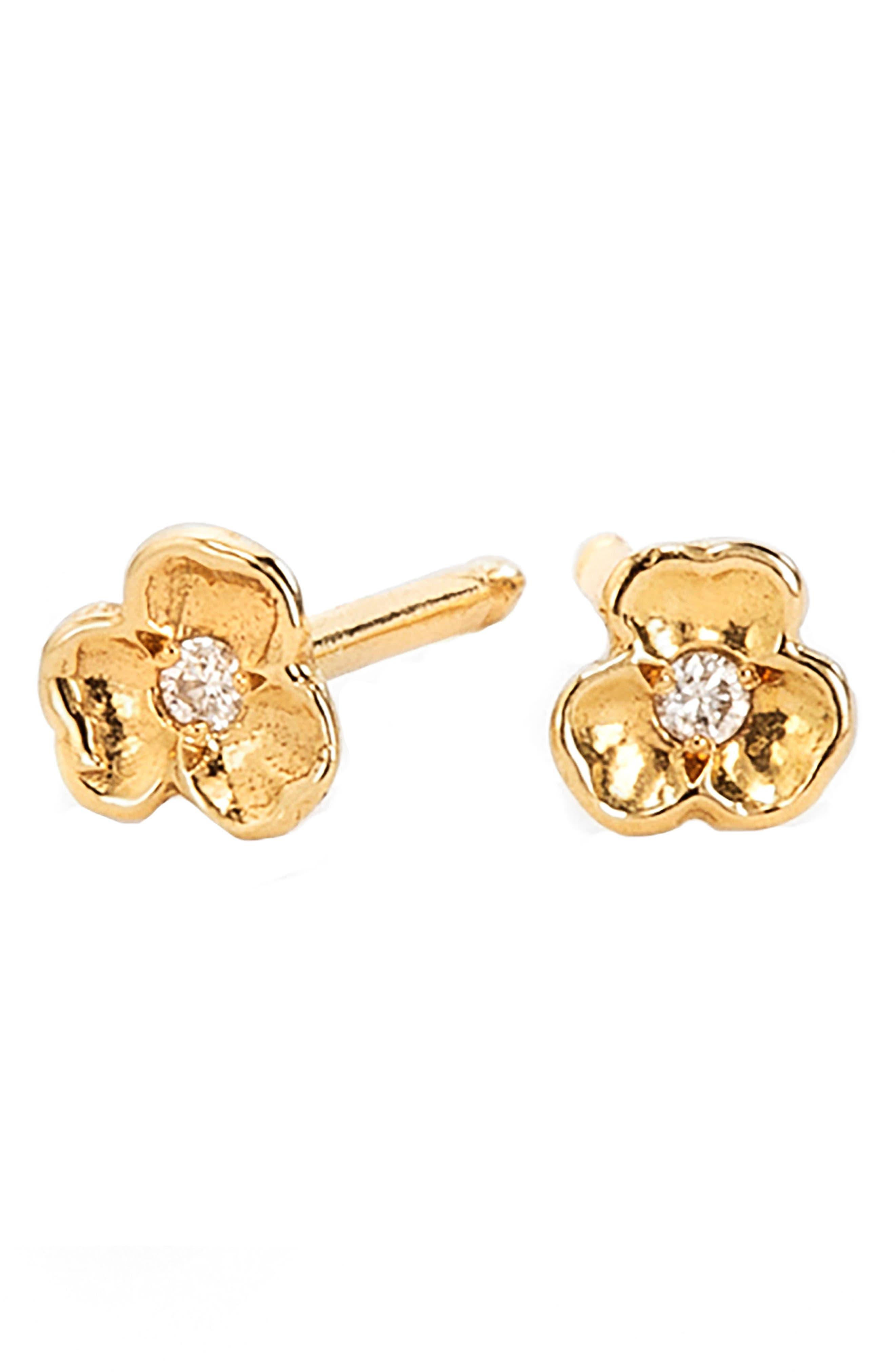 NORA KOGAN TINY DIAMOND PANSY FLOWER STUD EARRINGS