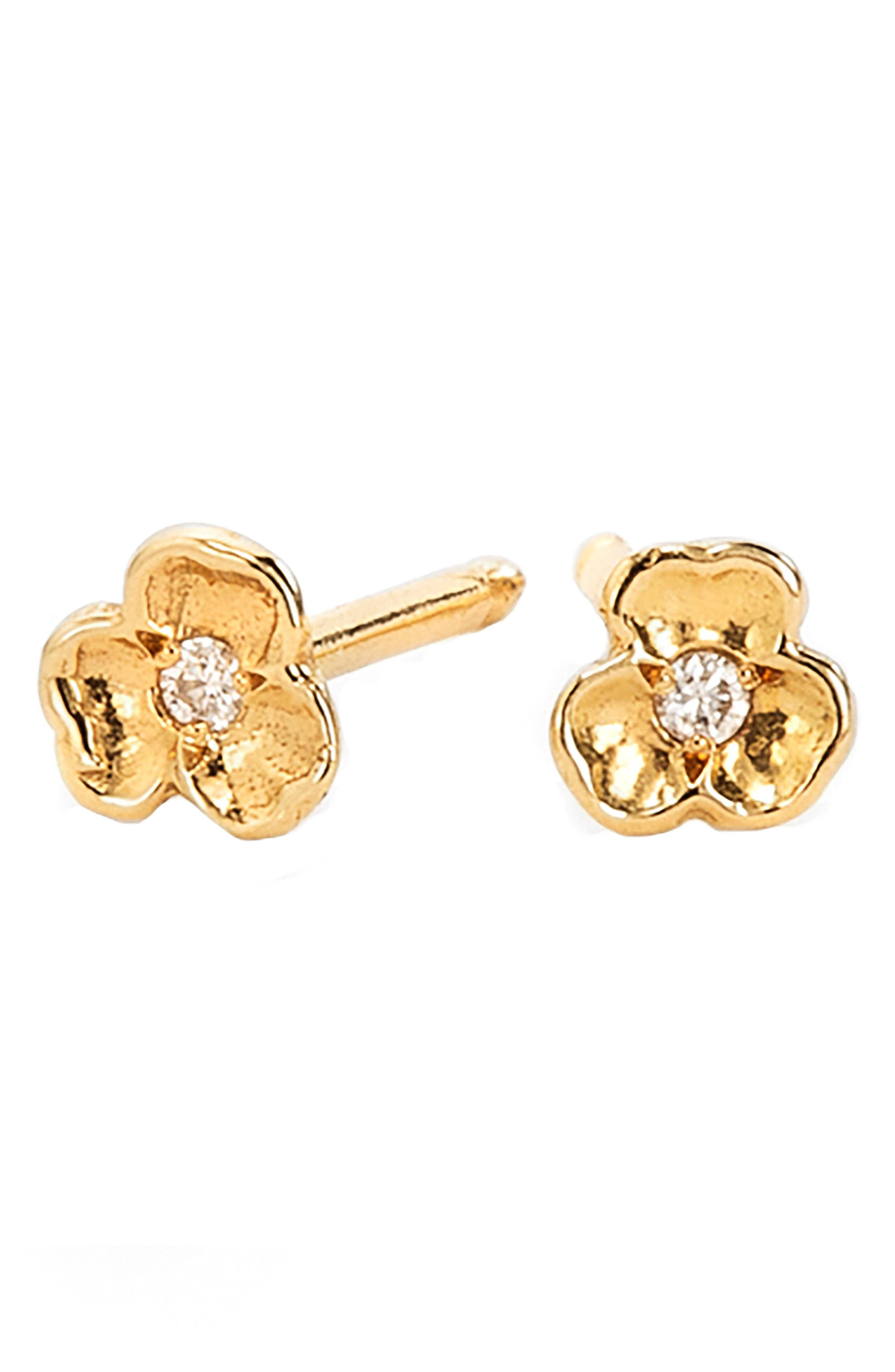 Tiny Diamond Pansy Flower Stud Earrings,                         Main,                         color, Yellow Gold