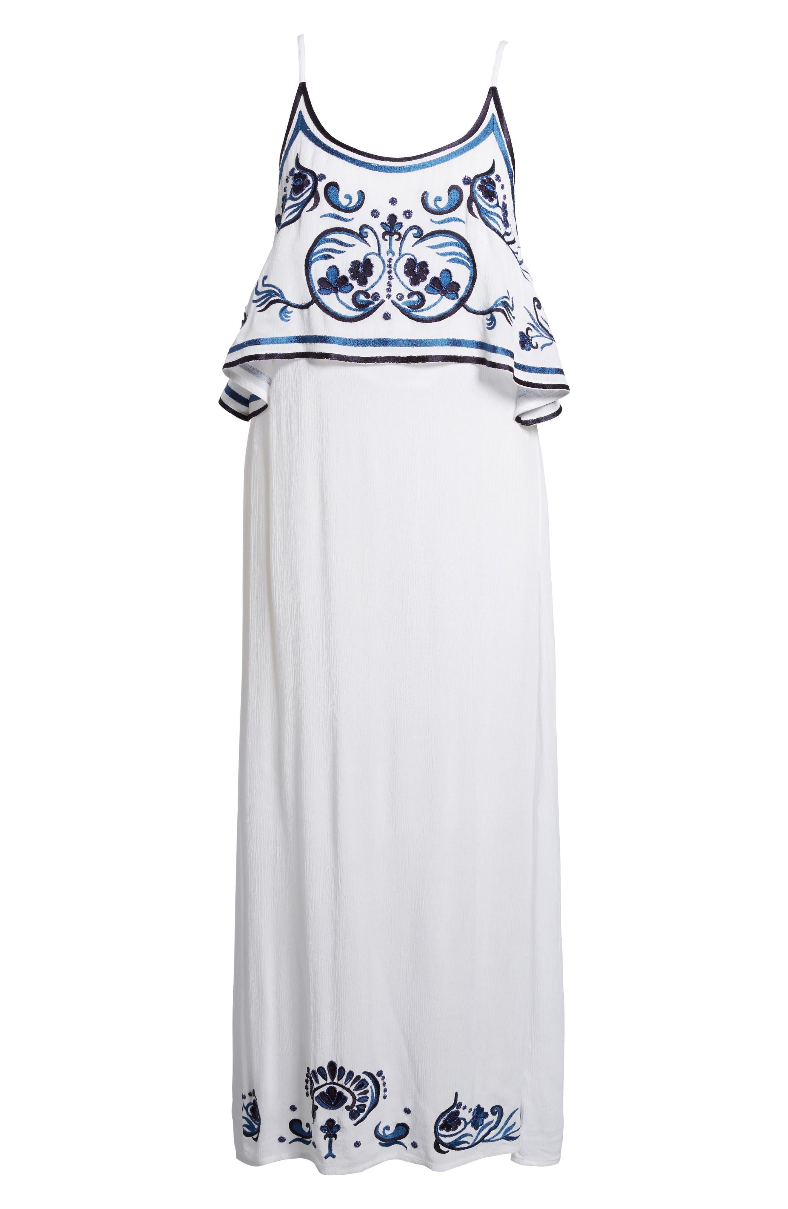 Mediterranean Embroidered Maxi Dress,                             Alternate thumbnail 6, color,                             White/ Blue