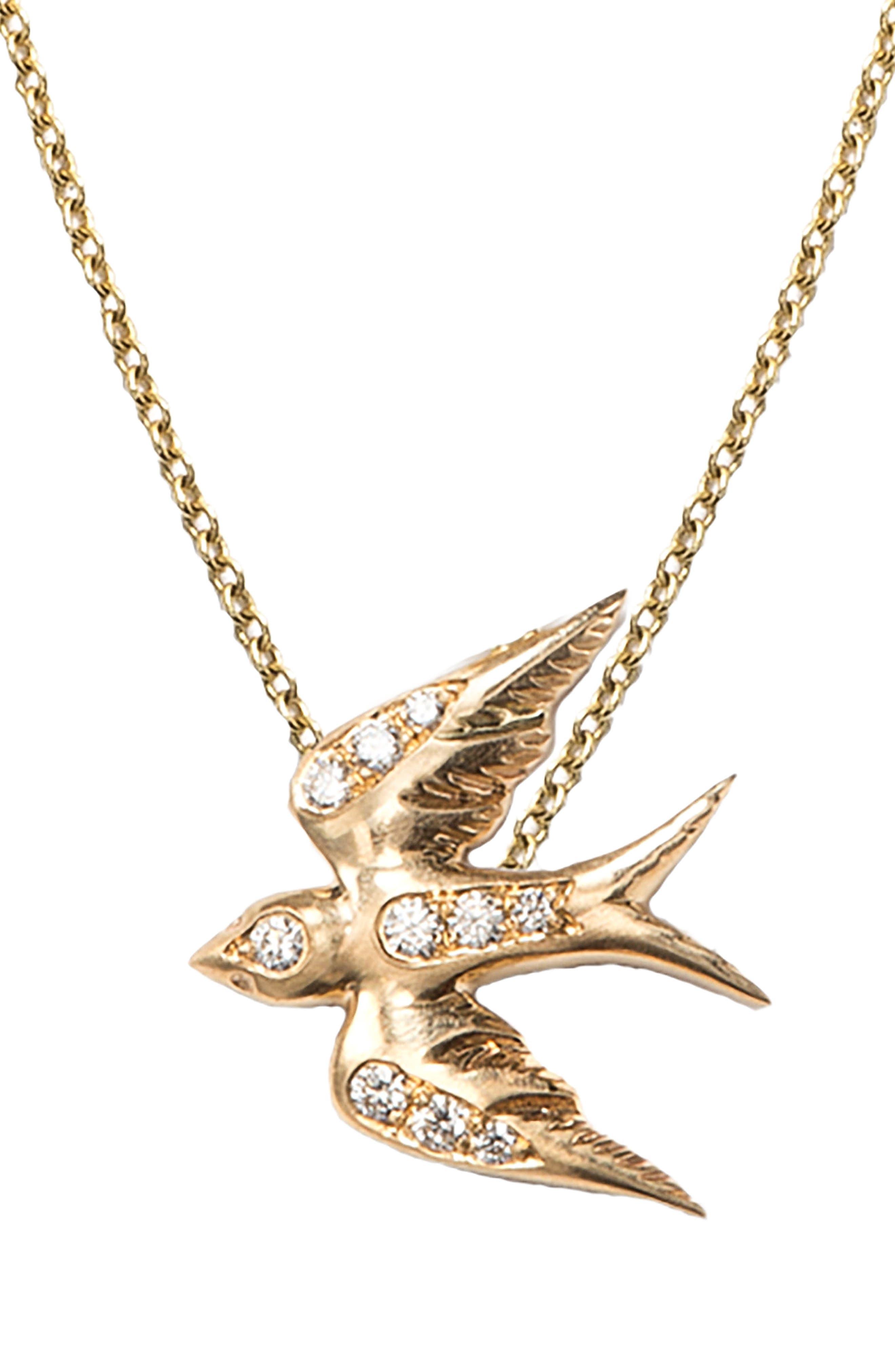 Diamond Swallow Pendant Necklace,                             Main thumbnail 1, color,                             Yellow Gold