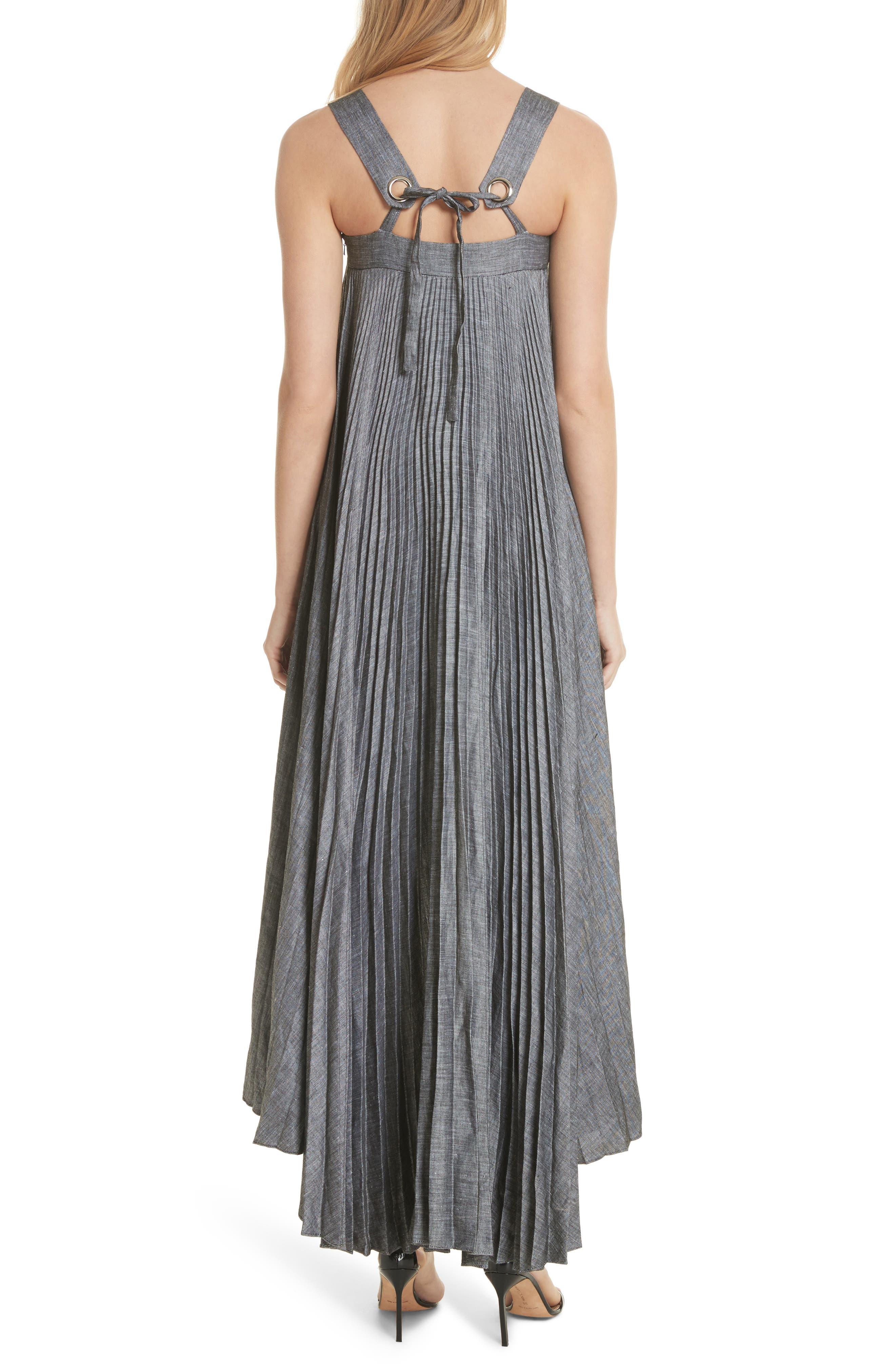 Sawyer High/Low Linen Blend Dress,                             Alternate thumbnail 2, color,                             Olive