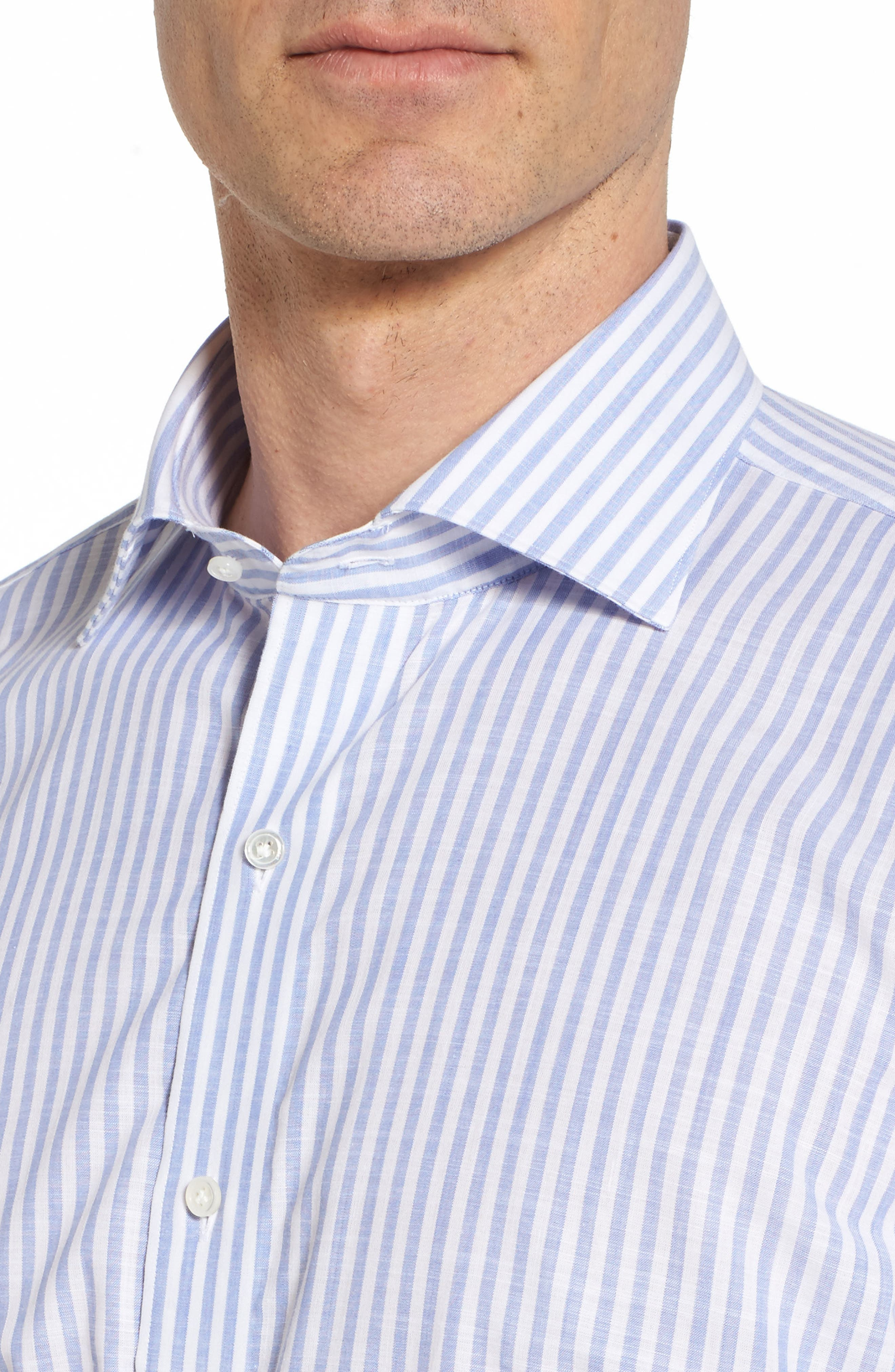 Summer Stripe Chambray Sport Shirt,                             Alternate thumbnail 4, color,                             Blue Ceillo