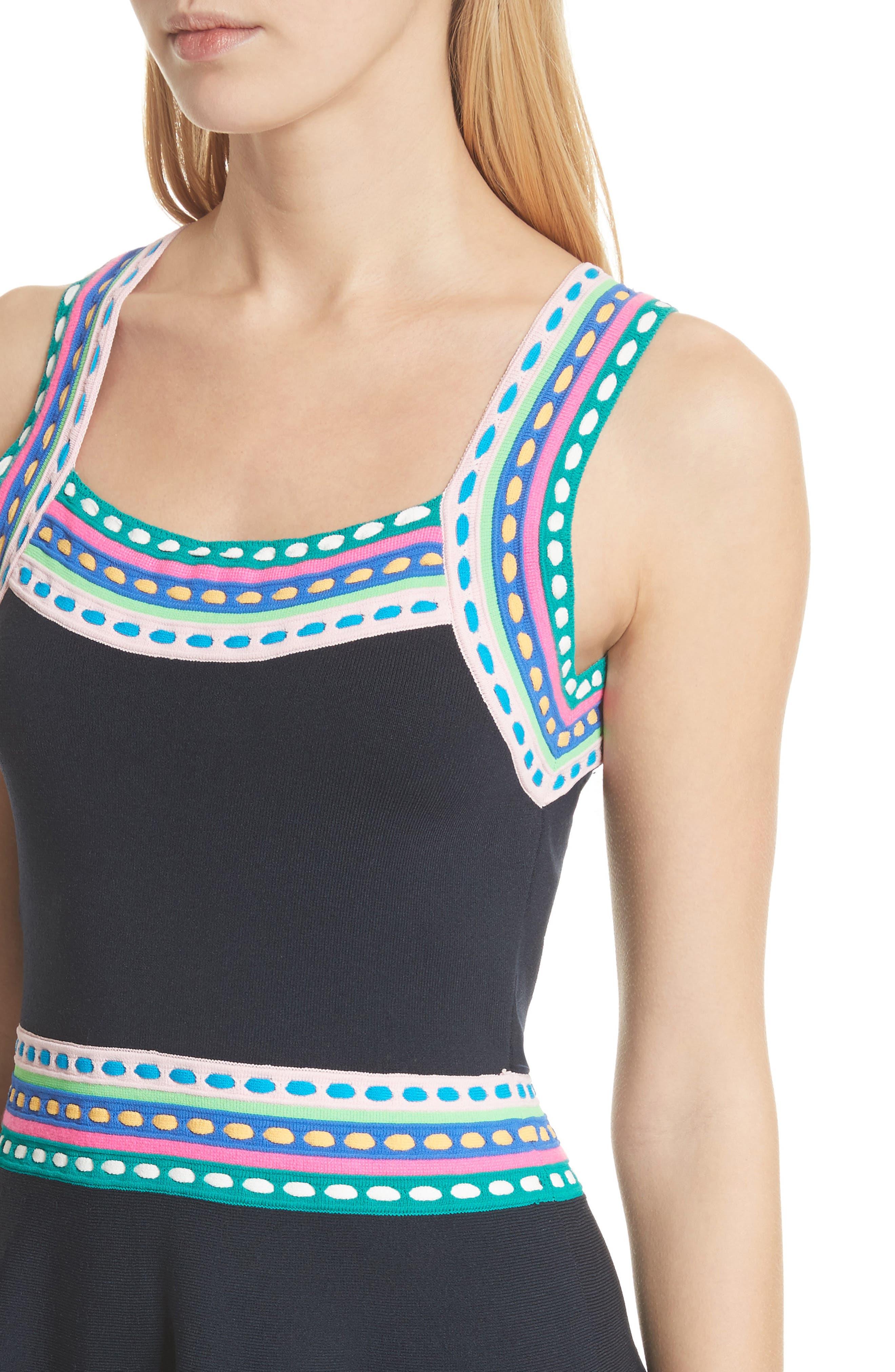 Woven Trim Fit & Flare Dress,                             Alternate thumbnail 4, color,                             Navy Multi
