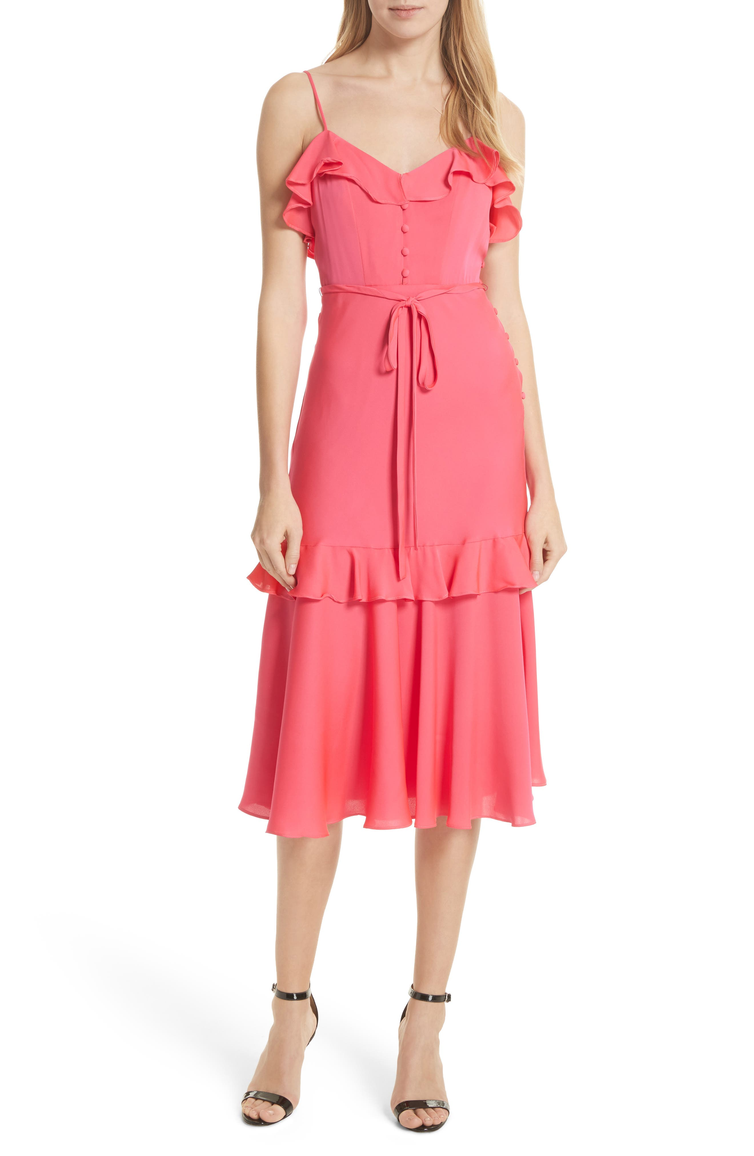 Petal Stretch Silk Midi Dress,                             Main thumbnail 1, color,                             Guava