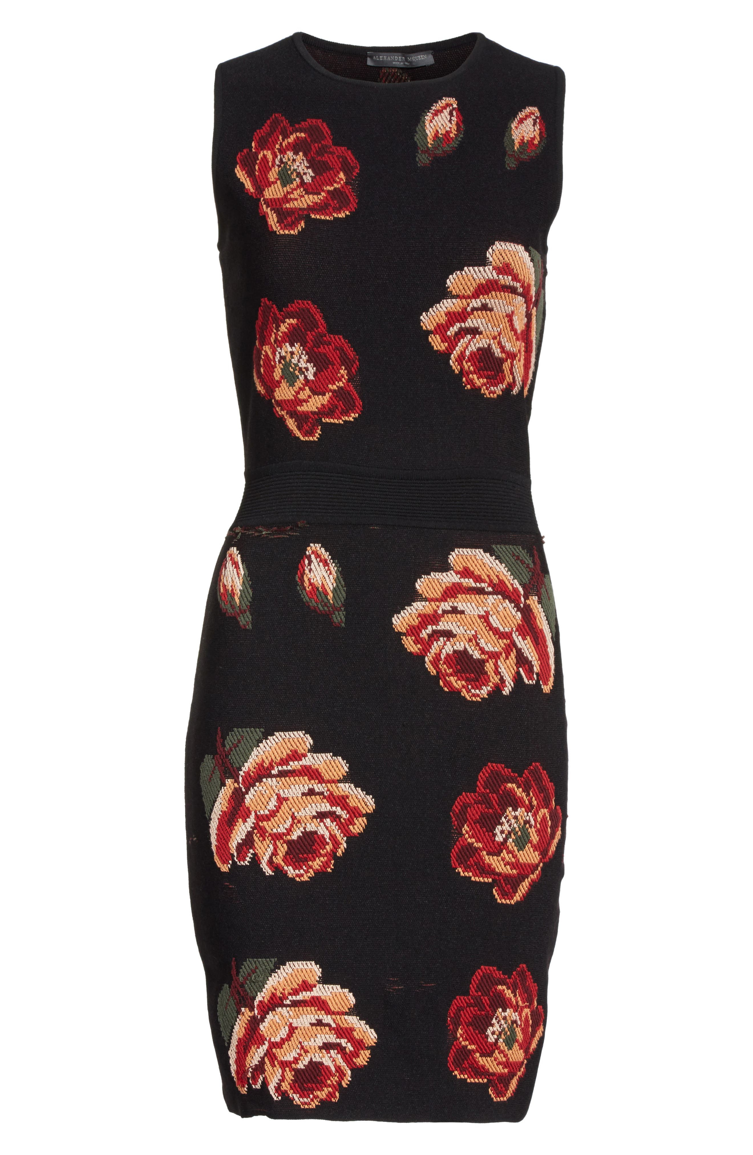 Intarsia Floral Print Dress,                             Alternate thumbnail 6, color,                             Black/ Red/ Green