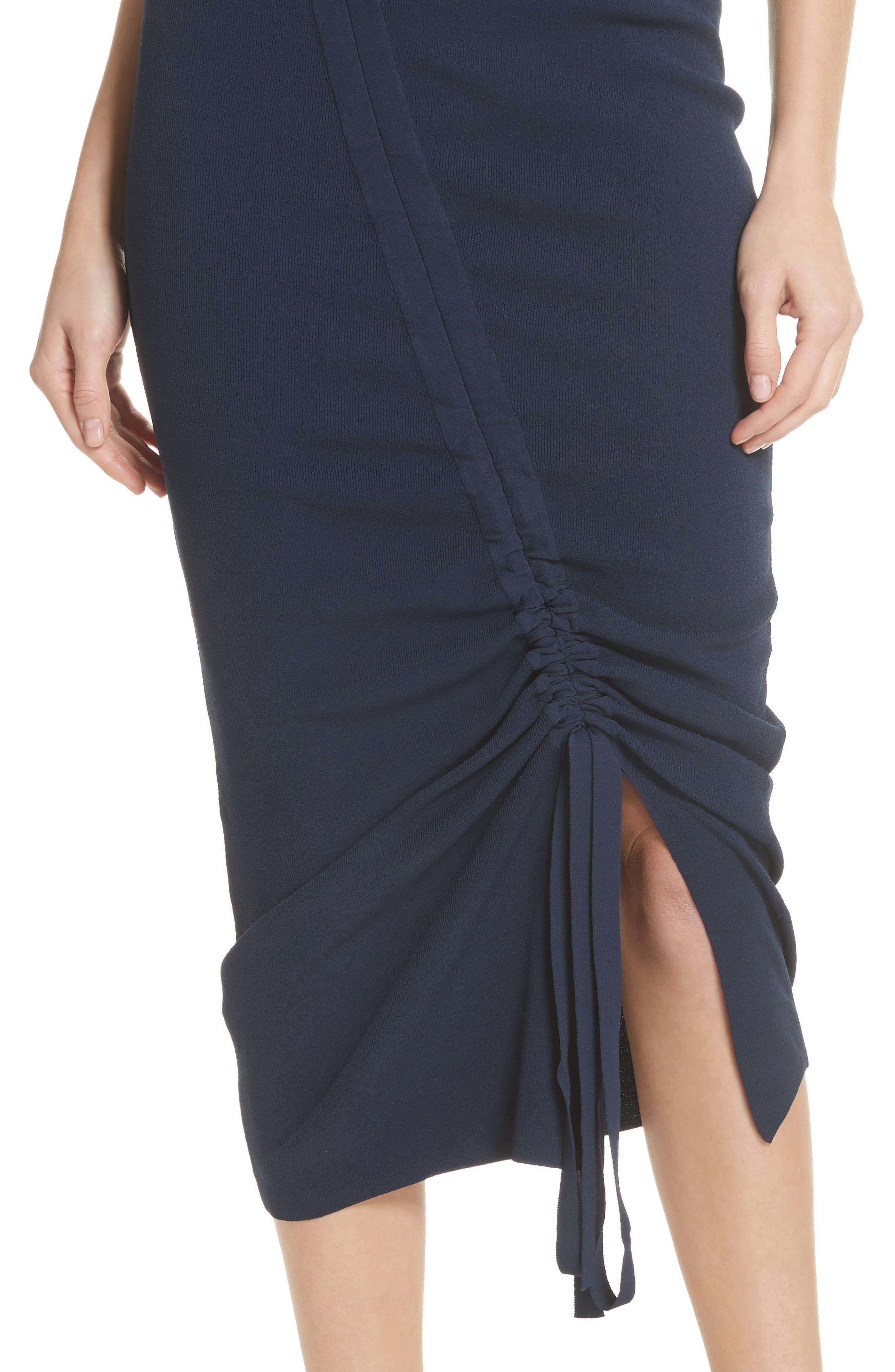 Ruched Midi Skirt,                             Alternate thumbnail 4, color,                             Navy