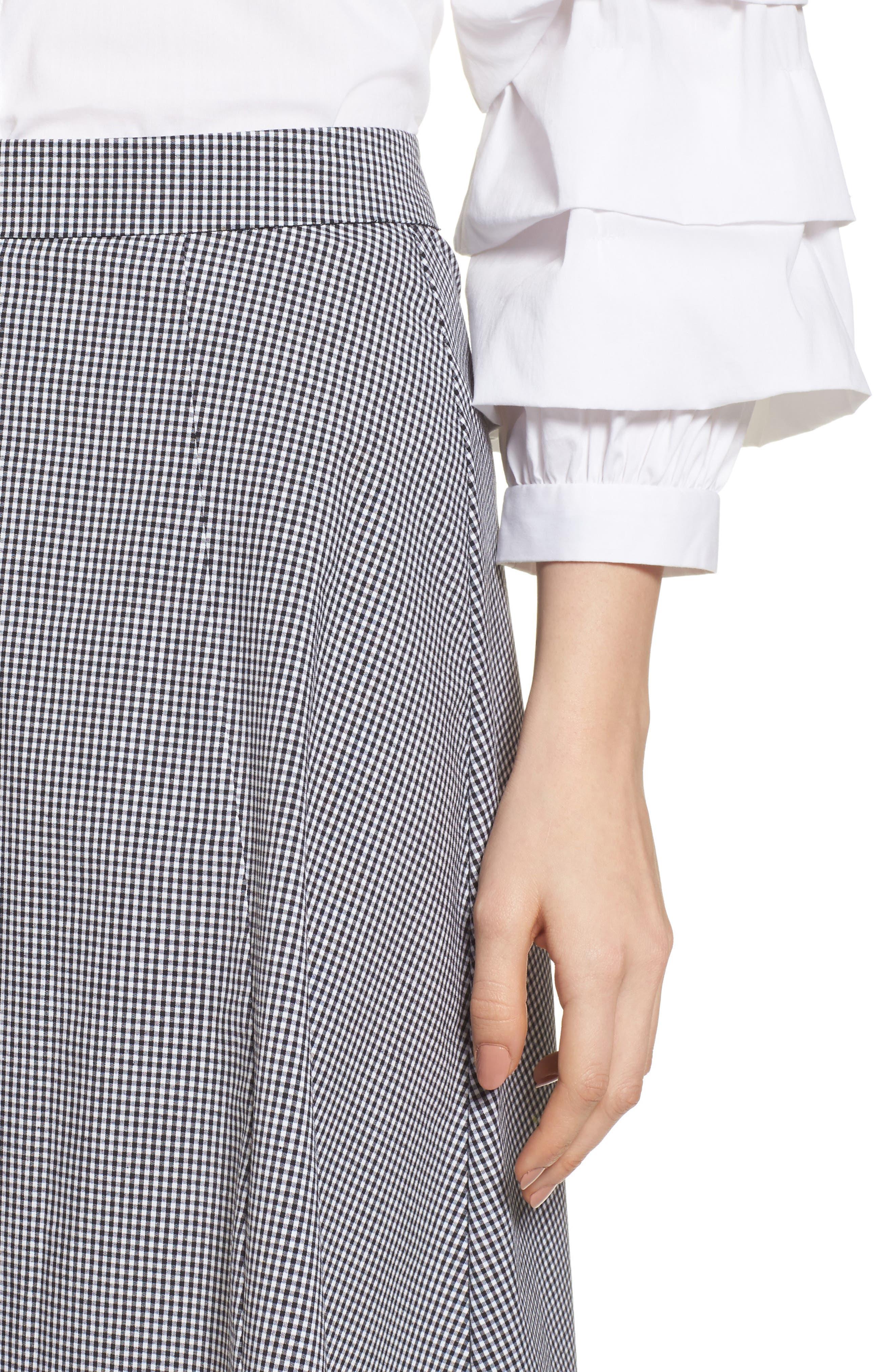 Gingham A-Line Skirt,                             Alternate thumbnail 4, color,                             Black/ White
