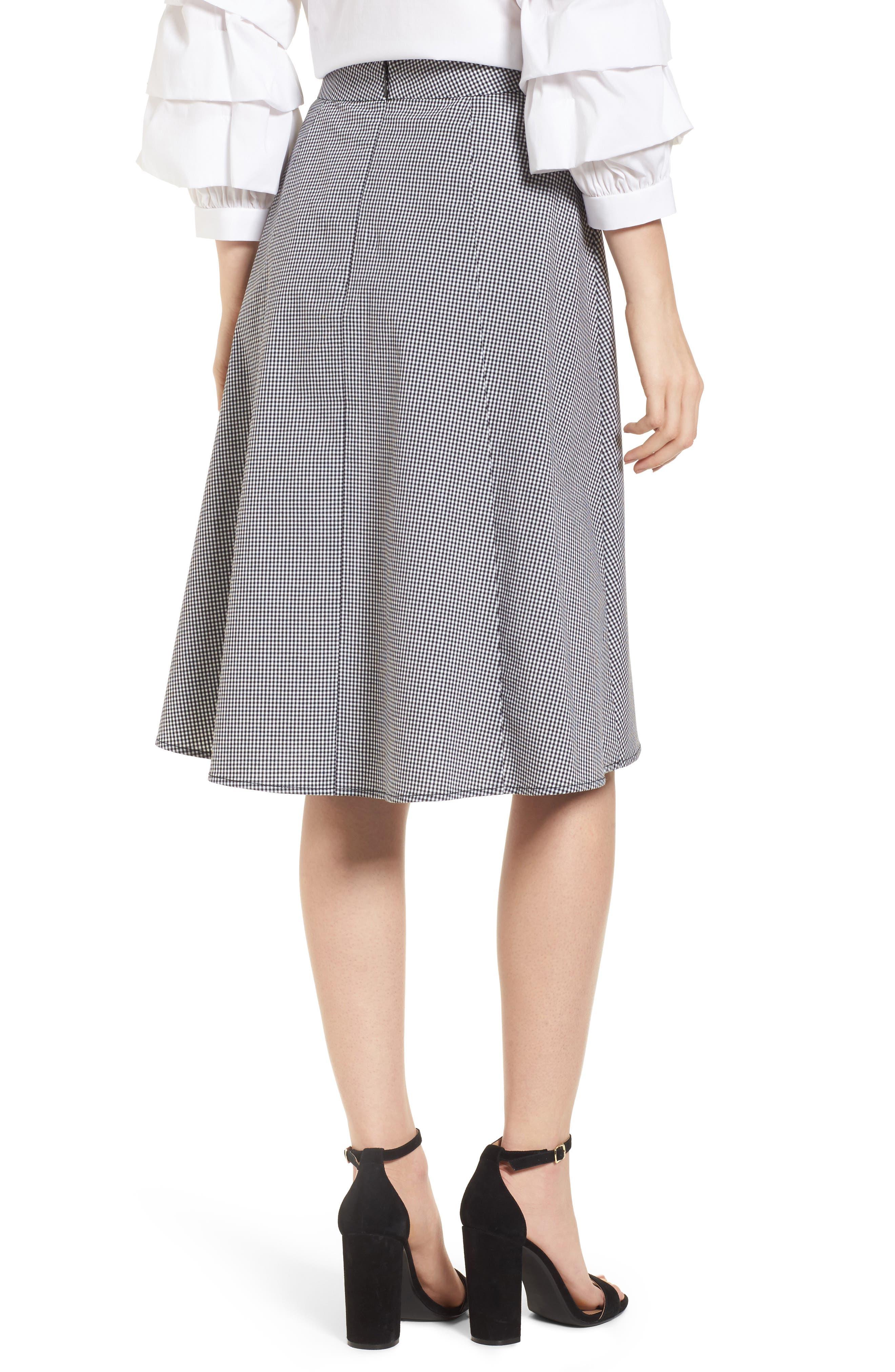 Gingham A-Line Skirt,                             Alternate thumbnail 2, color,                             Black/ White