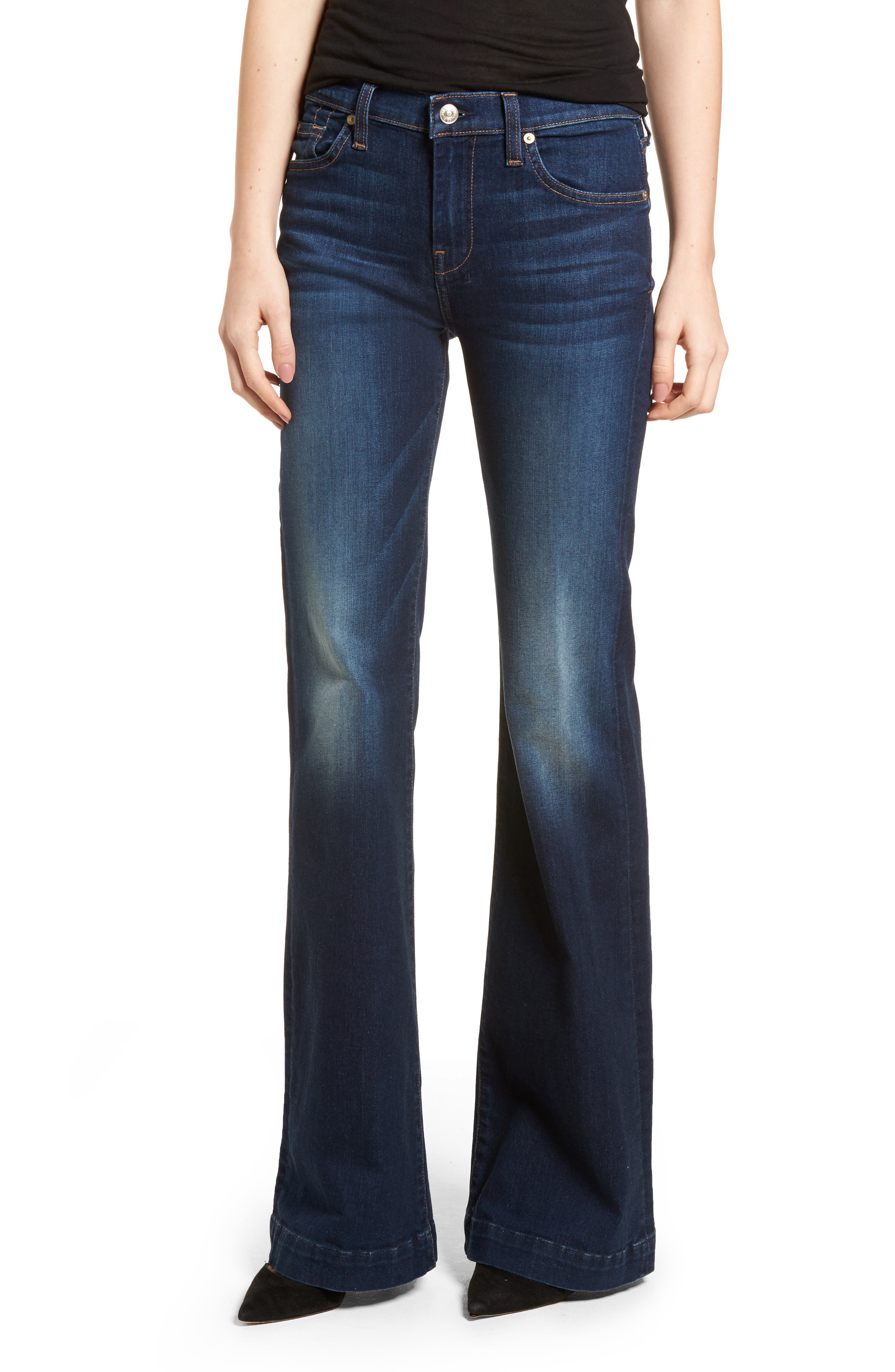 7 For All Mankind Woman Frayed High-rise Kick-flare Jeans Ecru Size 24 7 For All Mankind Clearance Shopping Online Amazon Cheap Price Best Seller Cheap Online sfKBZ