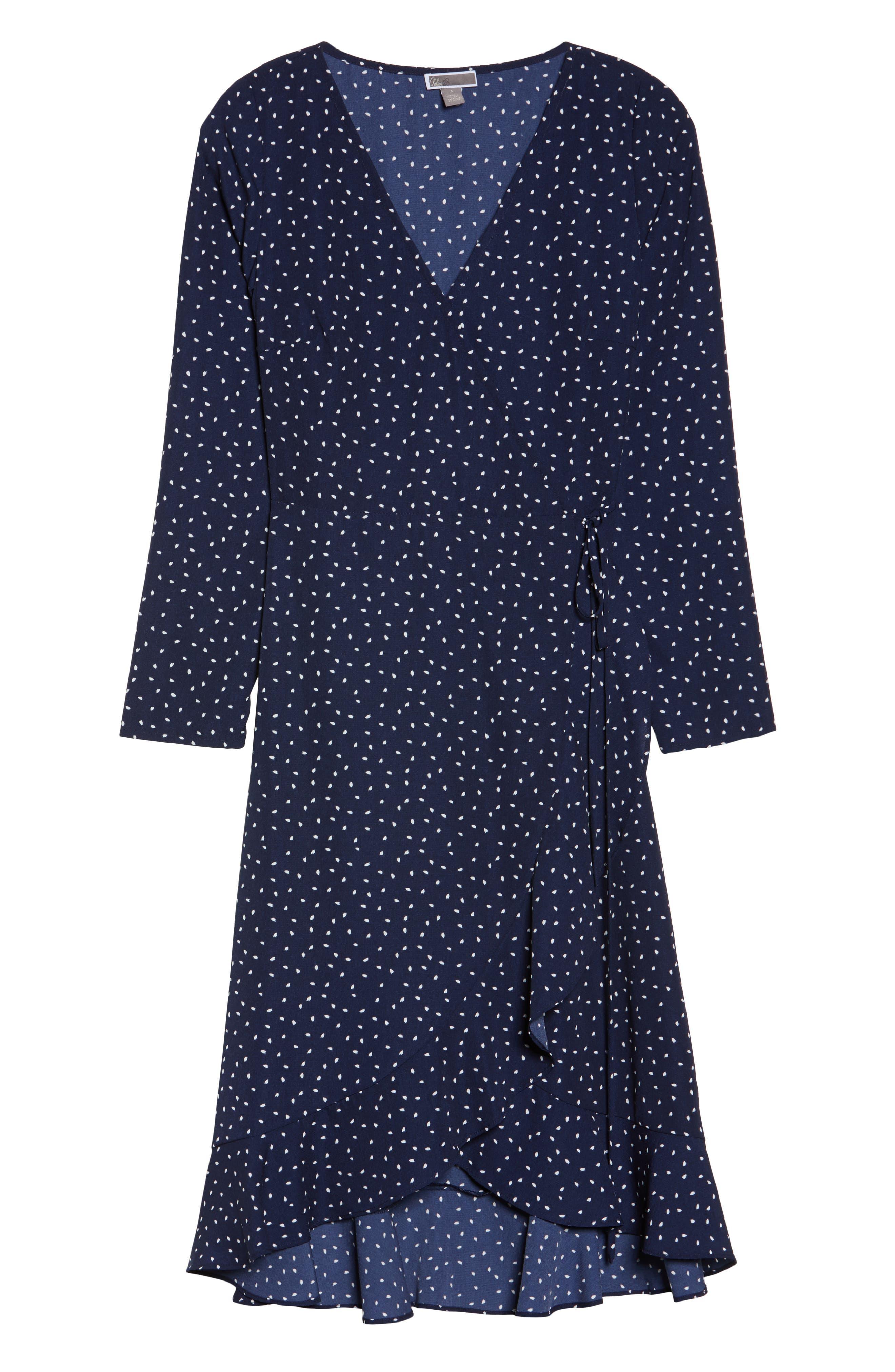 Print Wrap Dress,                             Alternate thumbnail 6, color,                             Small Mixed Dot