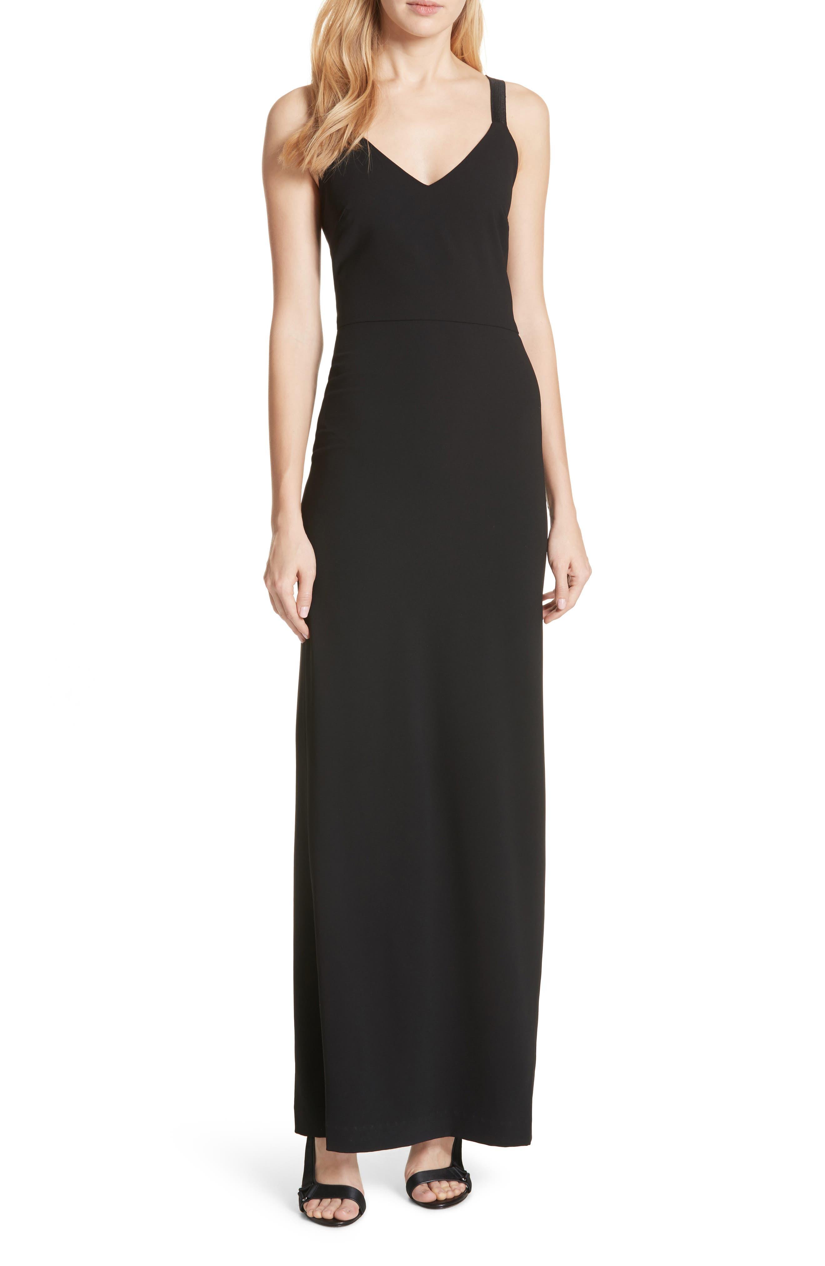 Brianna Strappy Back Maxi Dress,                             Main thumbnail 1, color,                             Black