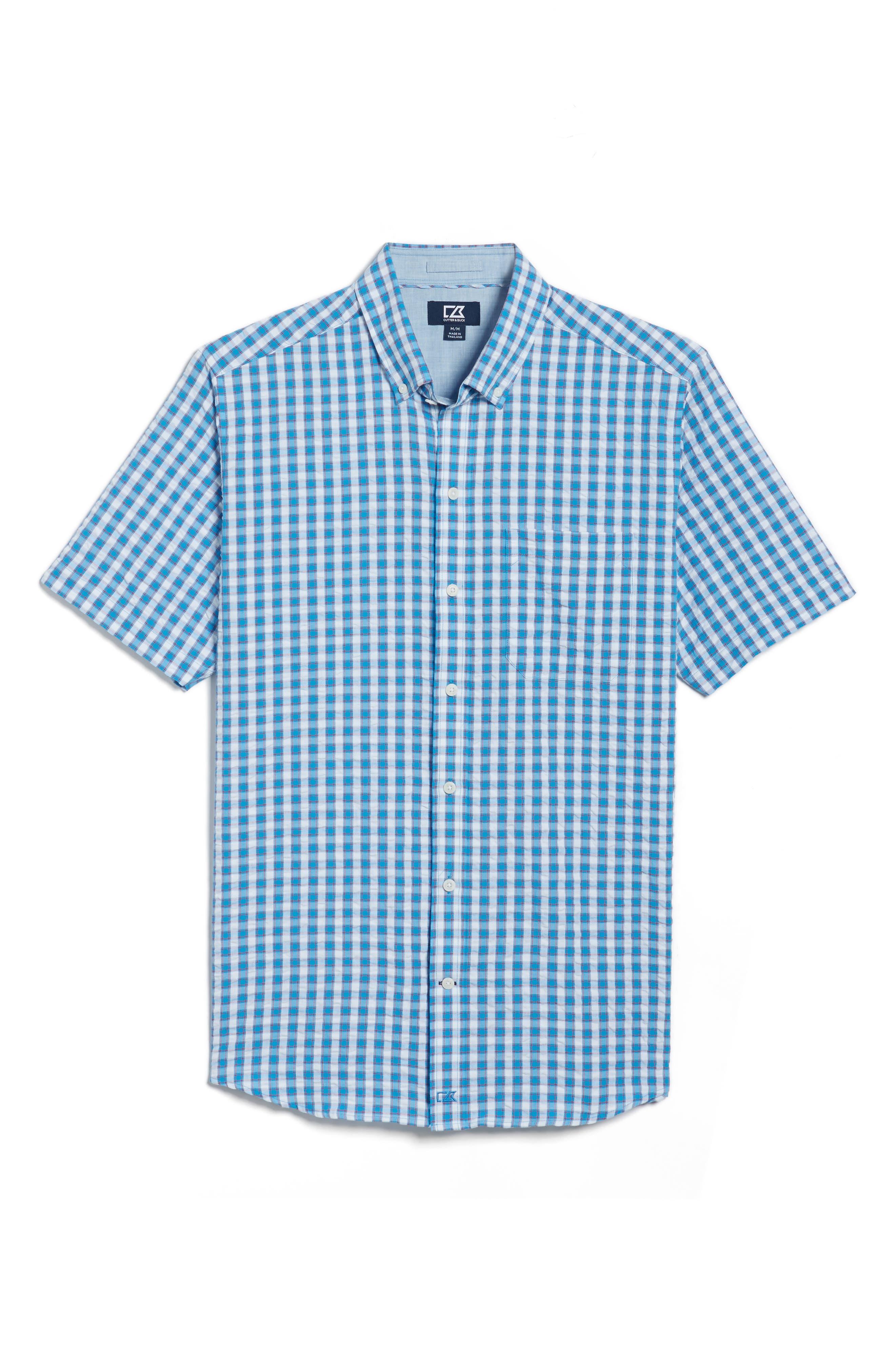 Tyler Seersucker Woven Shirt,                             Main thumbnail 1, color,                             Poolside