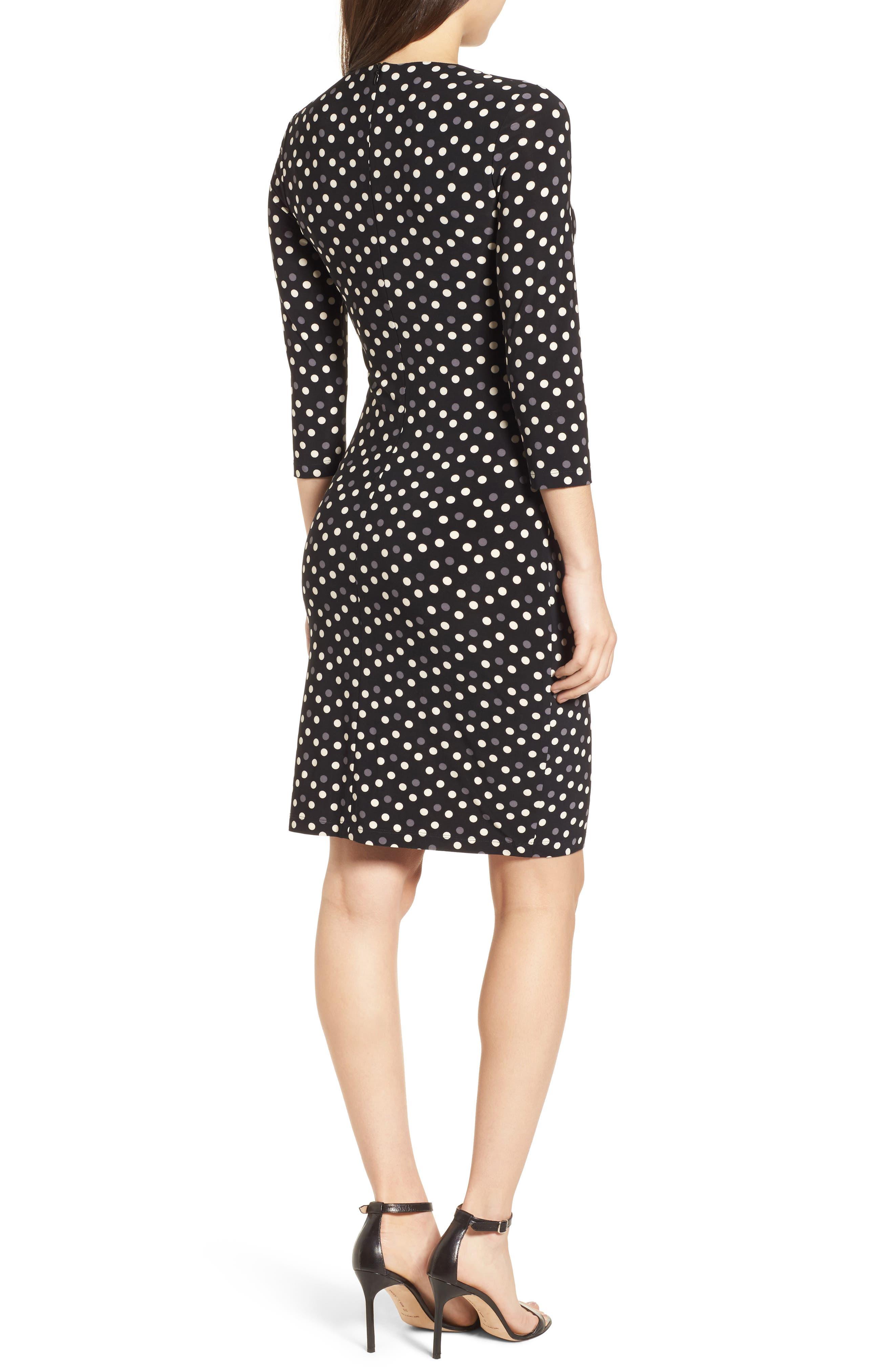 Splashy Dot Twist Waist Dress,                             Alternate thumbnail 2, color,                             Black/ Parchment Combo