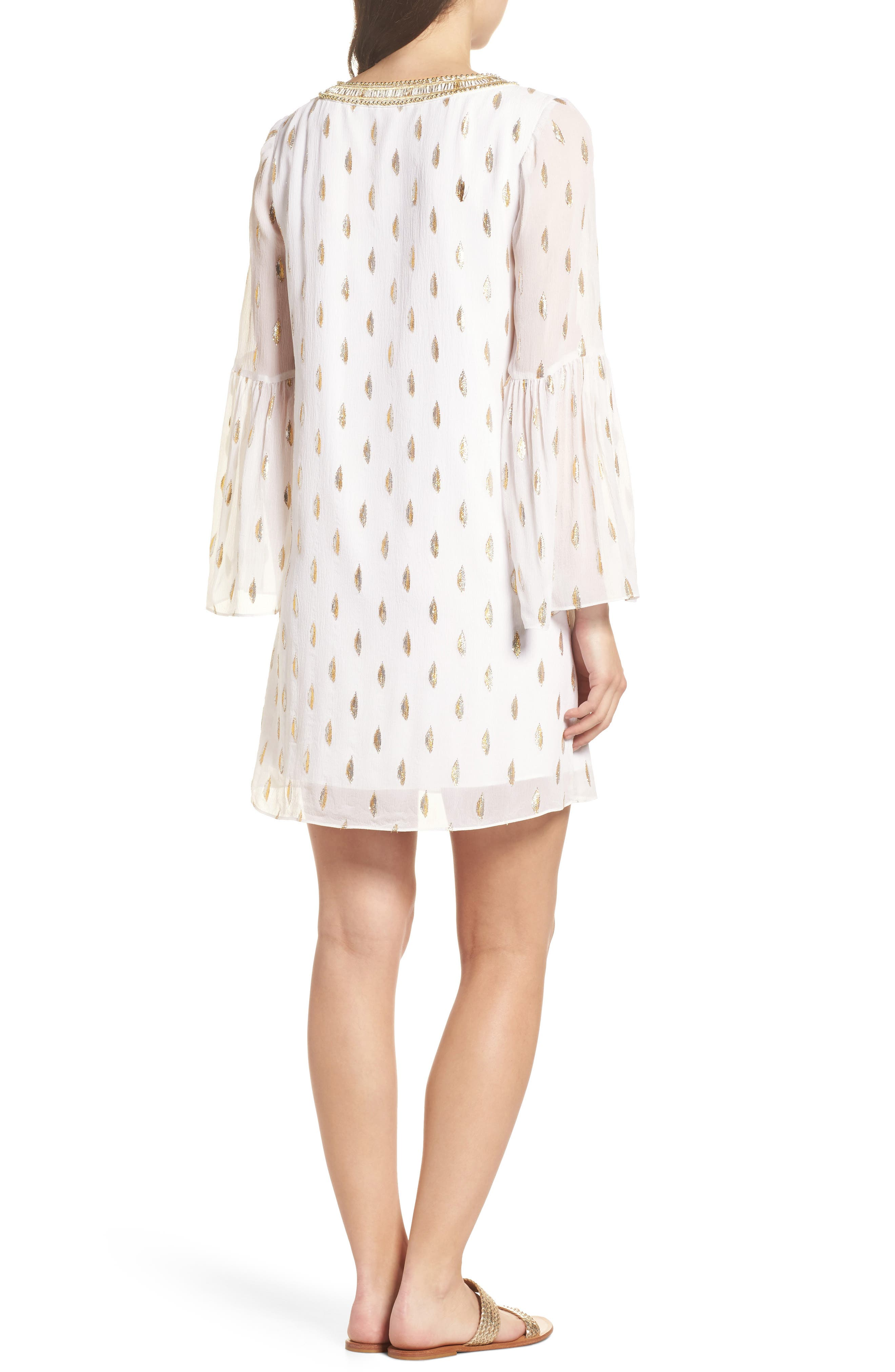 Amory Silk Tunic Dress,                             Alternate thumbnail 2, color,                             Resort White Diamond Metallic