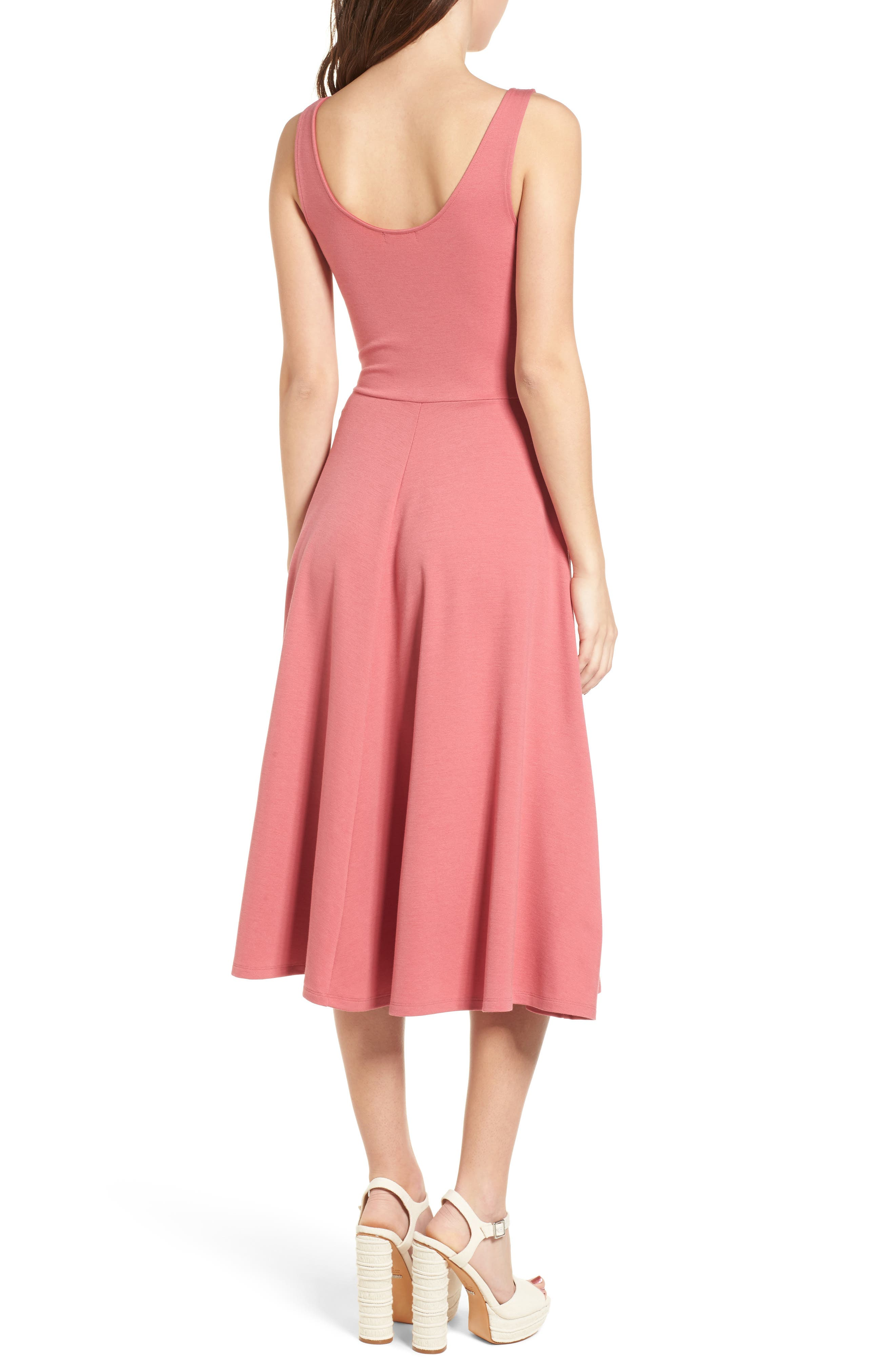 Stretch Knit Midi Dress,                             Alternate thumbnail 2, color,                             Red Baroque