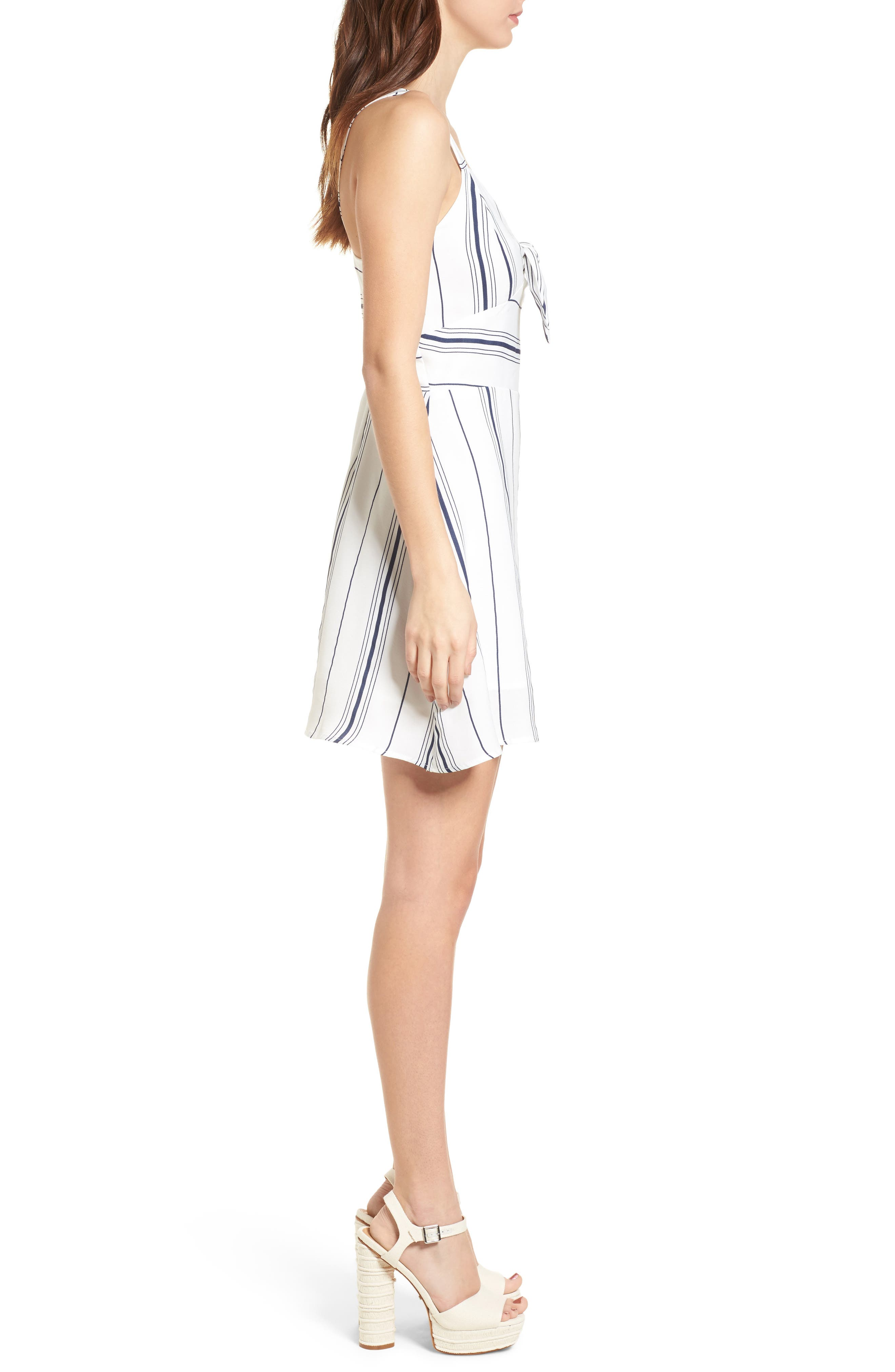 Tie Front Minidress,                             Alternate thumbnail 4, color,                             White/ Navy