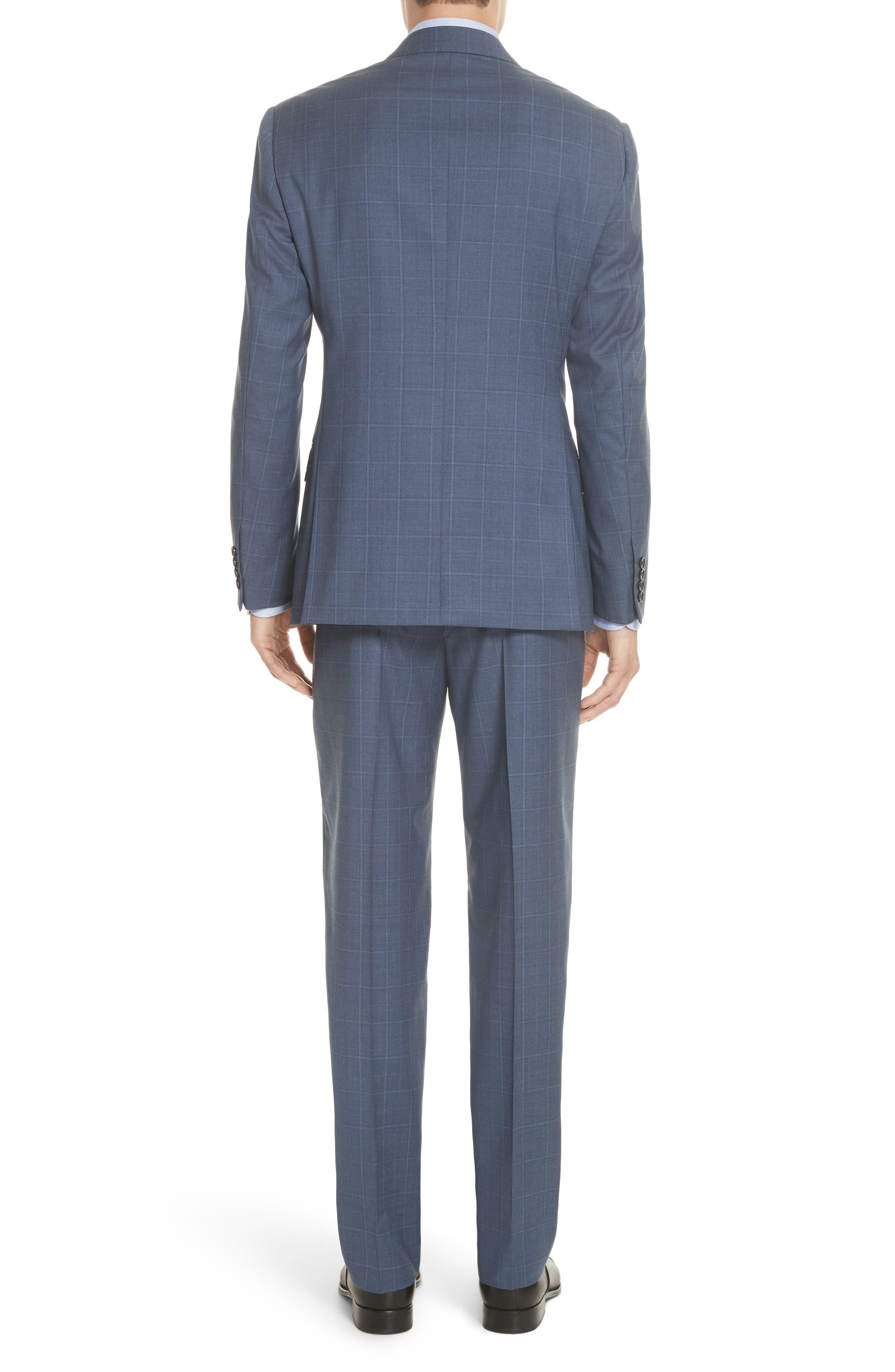 G Line Trim Fit Windowpane Wool Suit,                             Alternate thumbnail 2, color,                             Blue