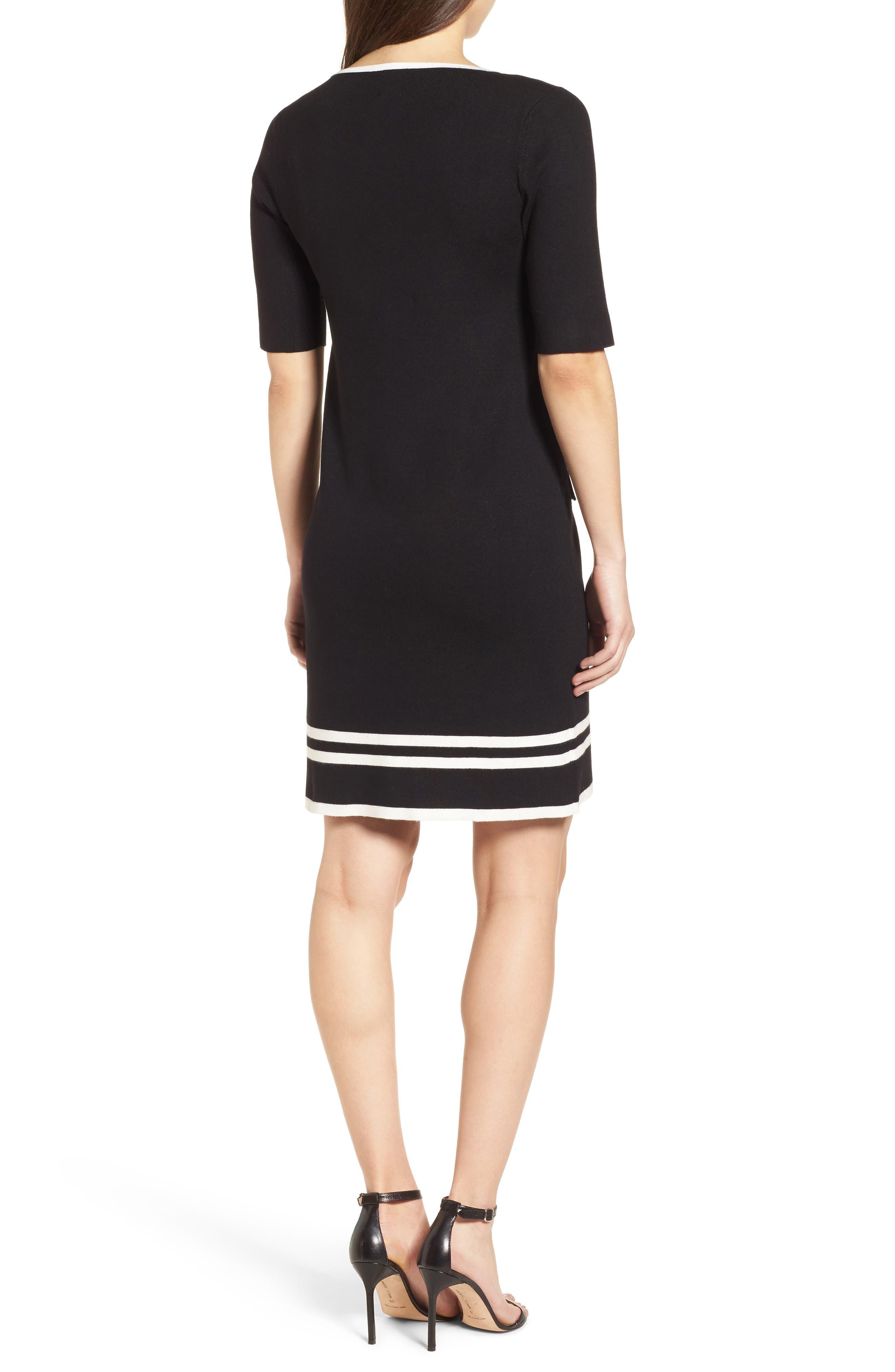 Ann Klein New York Stripe Border Knit Sheath Dress,                             Alternate thumbnail 2, color,                             Black/ White