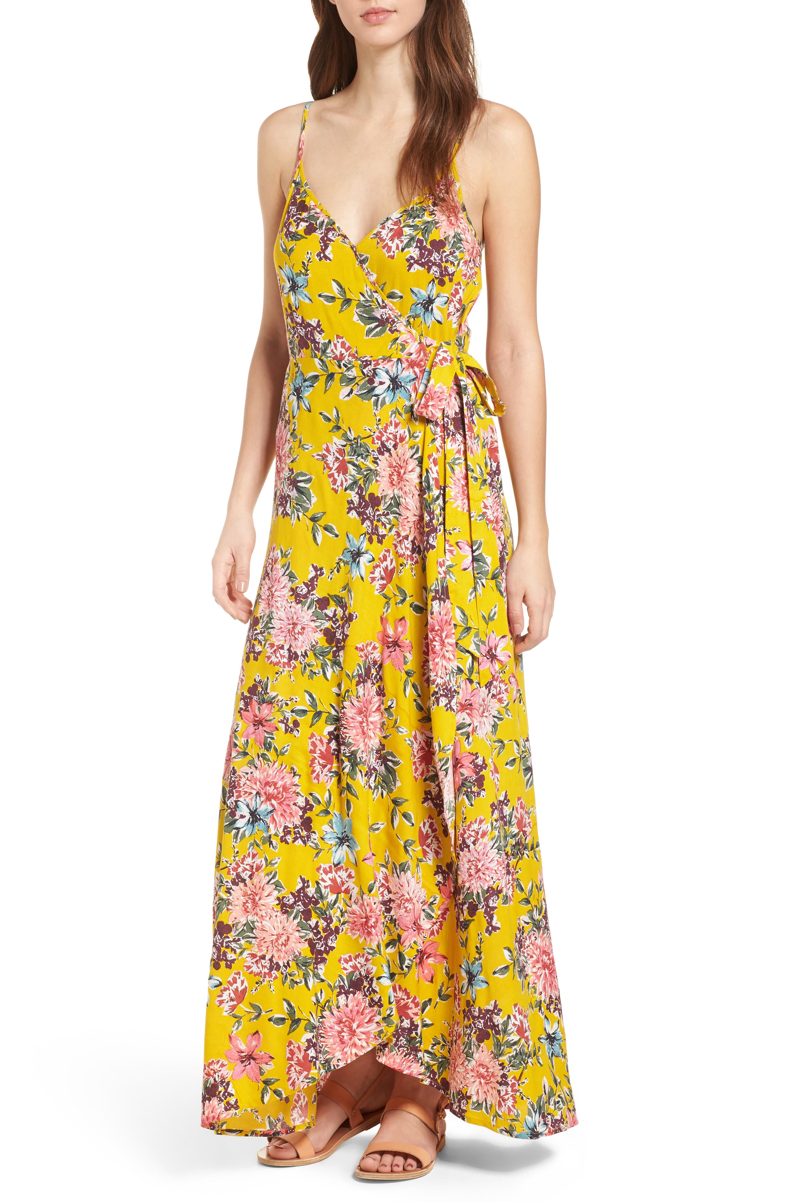 Chrysanthemum Wrap Front Dress,                         Main,                         color, Mustard/ Pink
