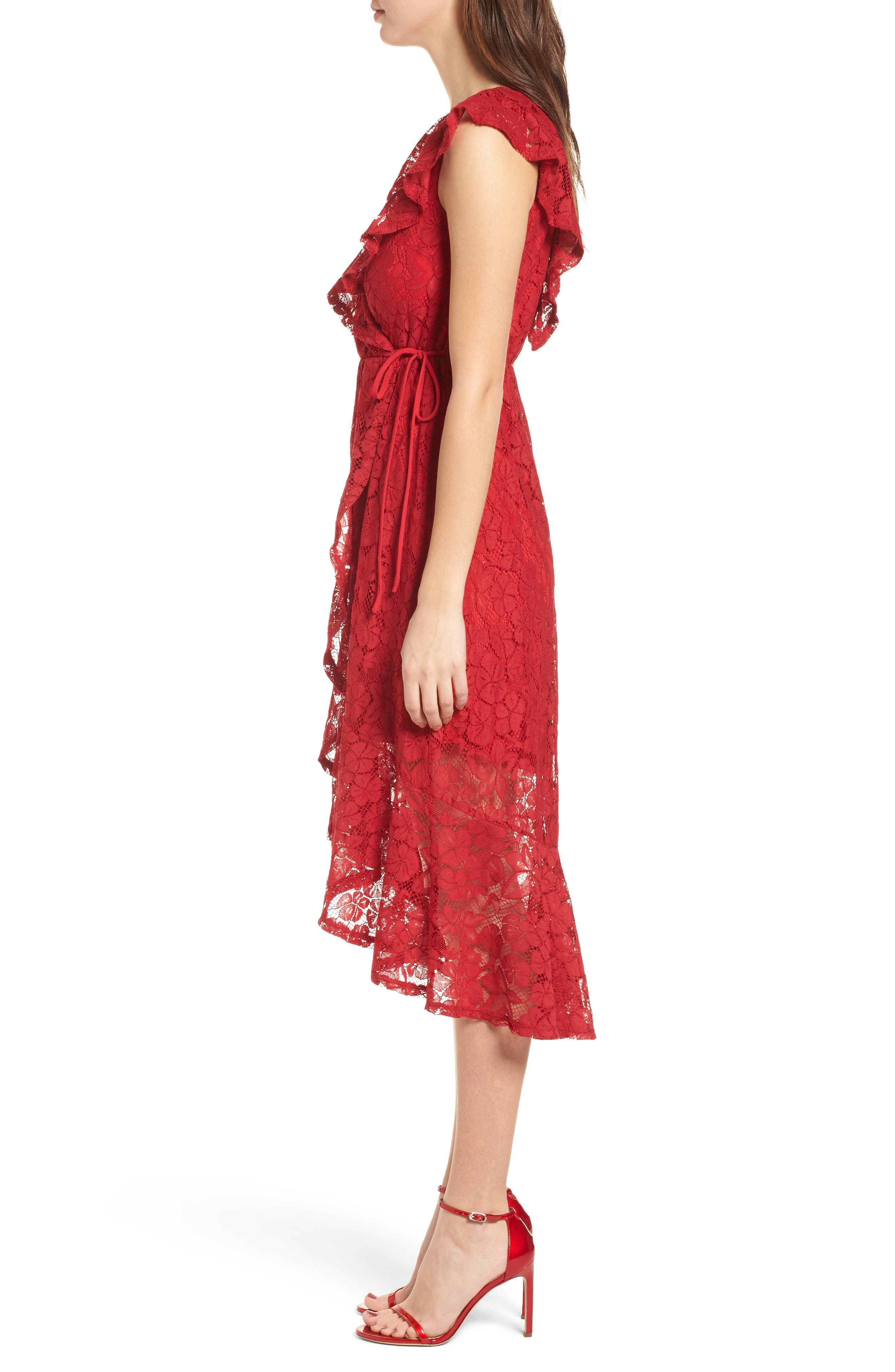 Ruffle Lace Wrap Dress,                             Alternate thumbnail 3, color,                             Red