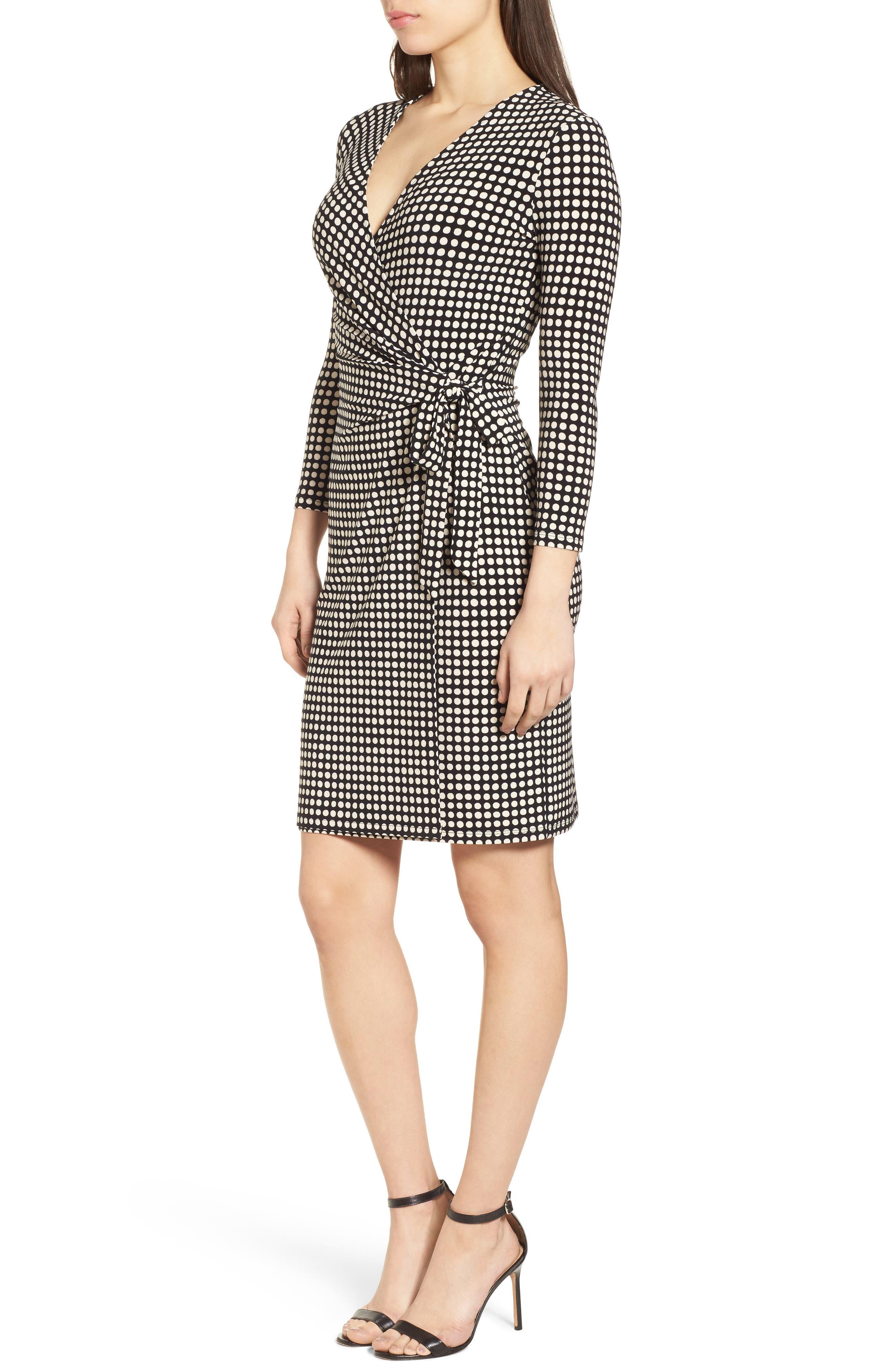 New York Pearly Dot Classic Wrap Dress,                             Alternate thumbnail 3, color,                             Black/ Parchment