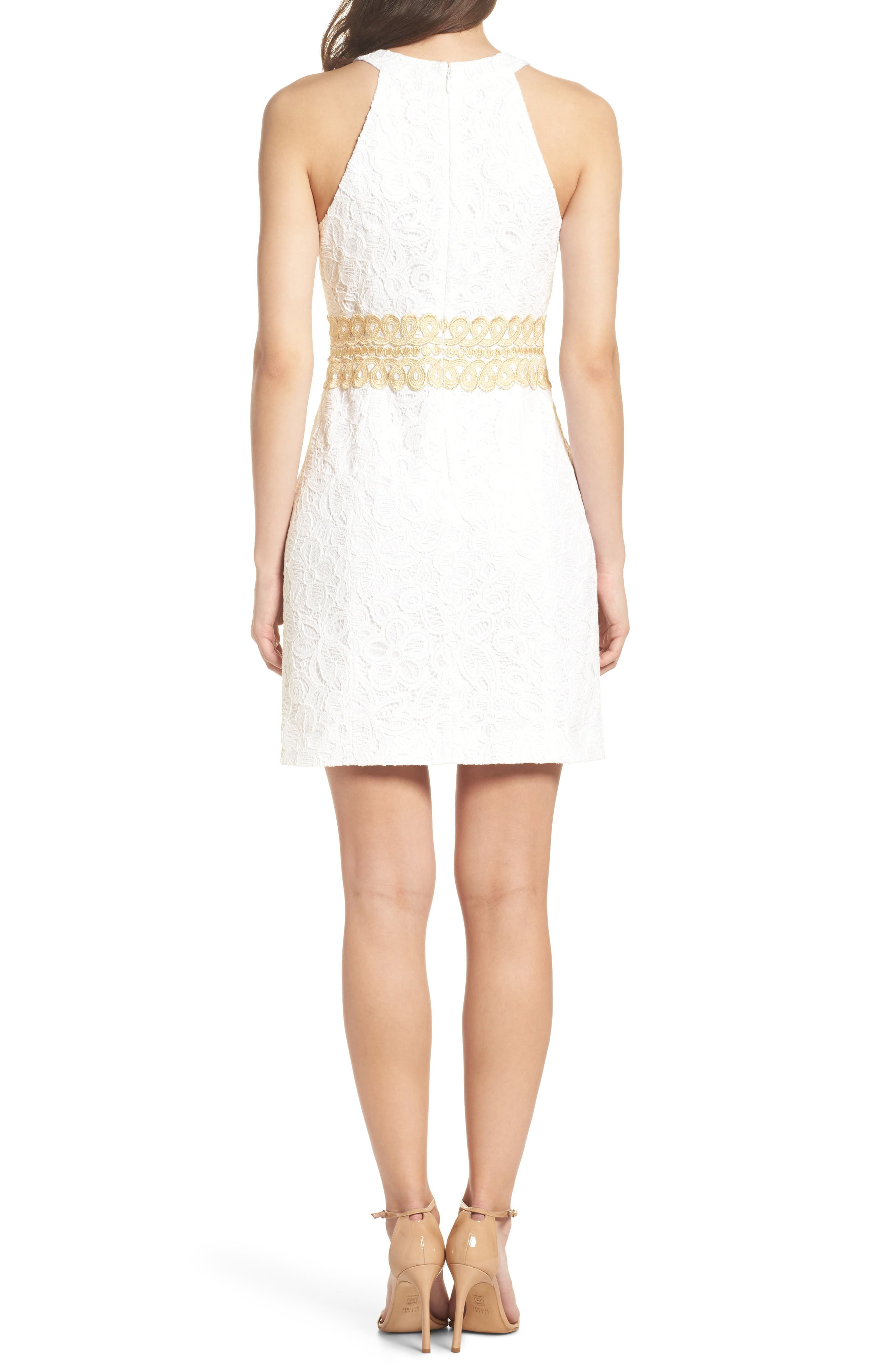 Ashlyn Lace Dress,                             Alternate thumbnail 2, color,                             Resort White Pop Floral Lace