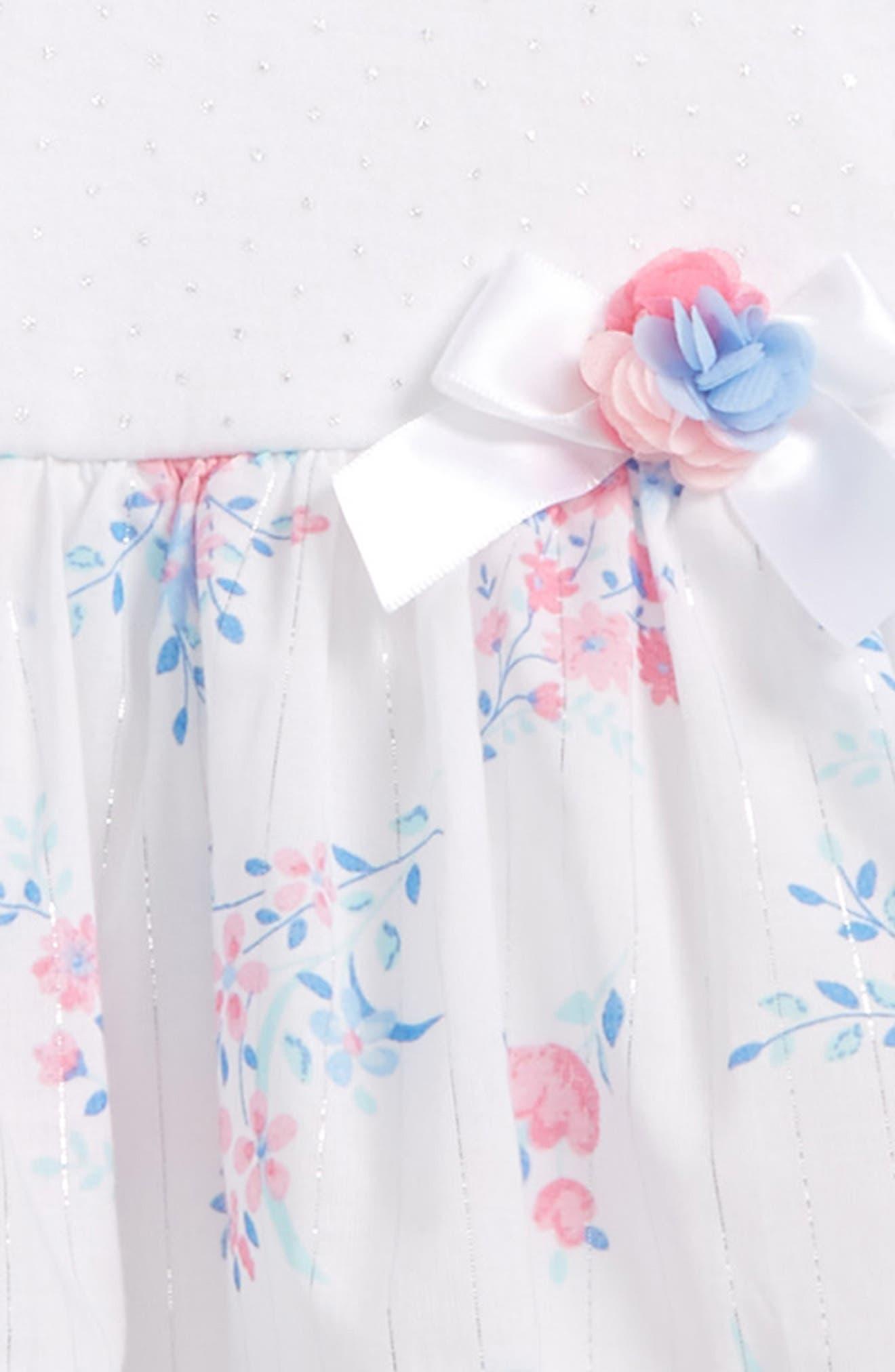 Alternate Image 2  - Little Me Garden Swing Dress, Leggings & Headband Set (Baby Girls)
