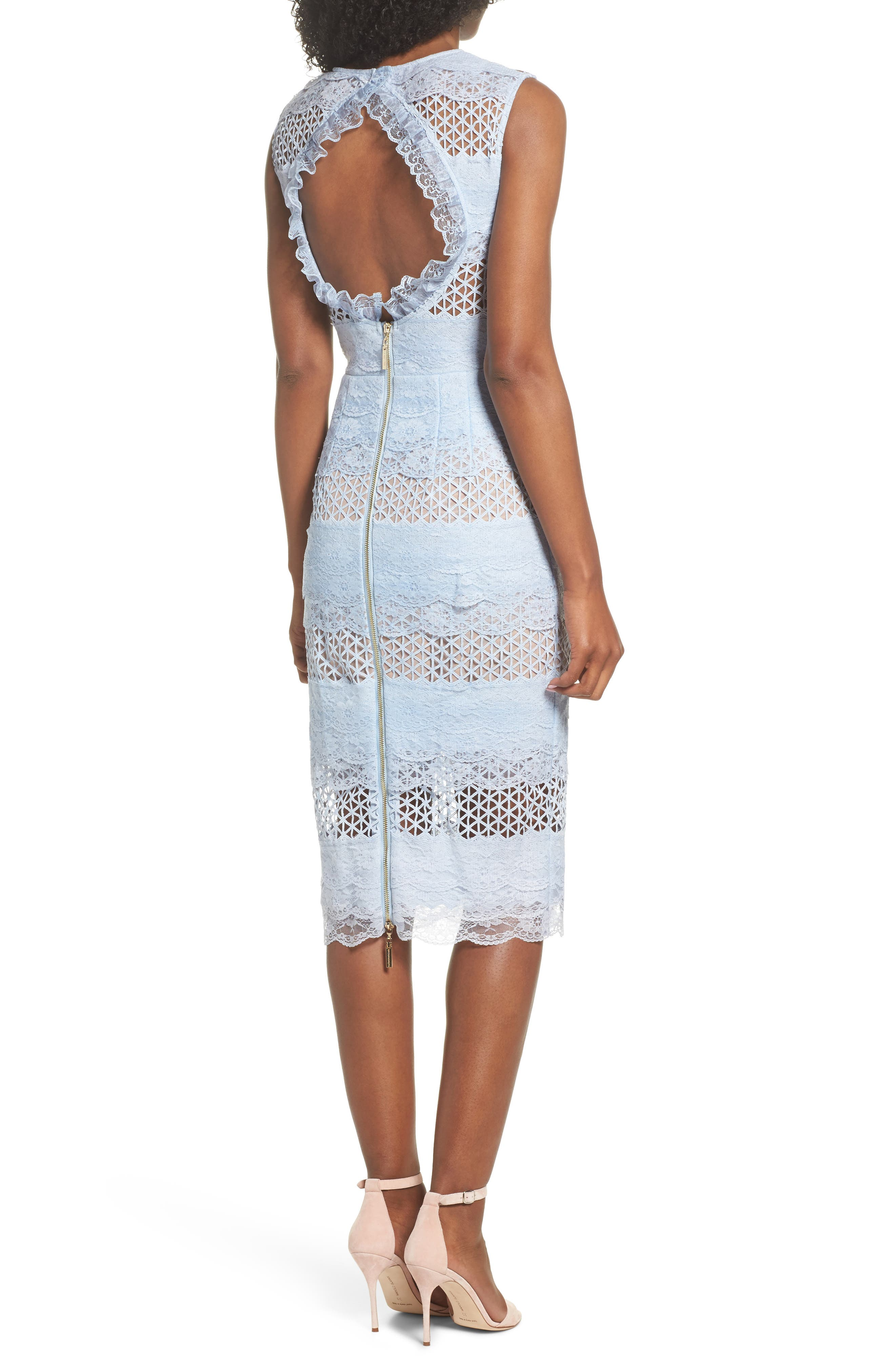 Sienna Lace Panel Sheath Dress,                             Alternate thumbnail 5, color,                             Sky