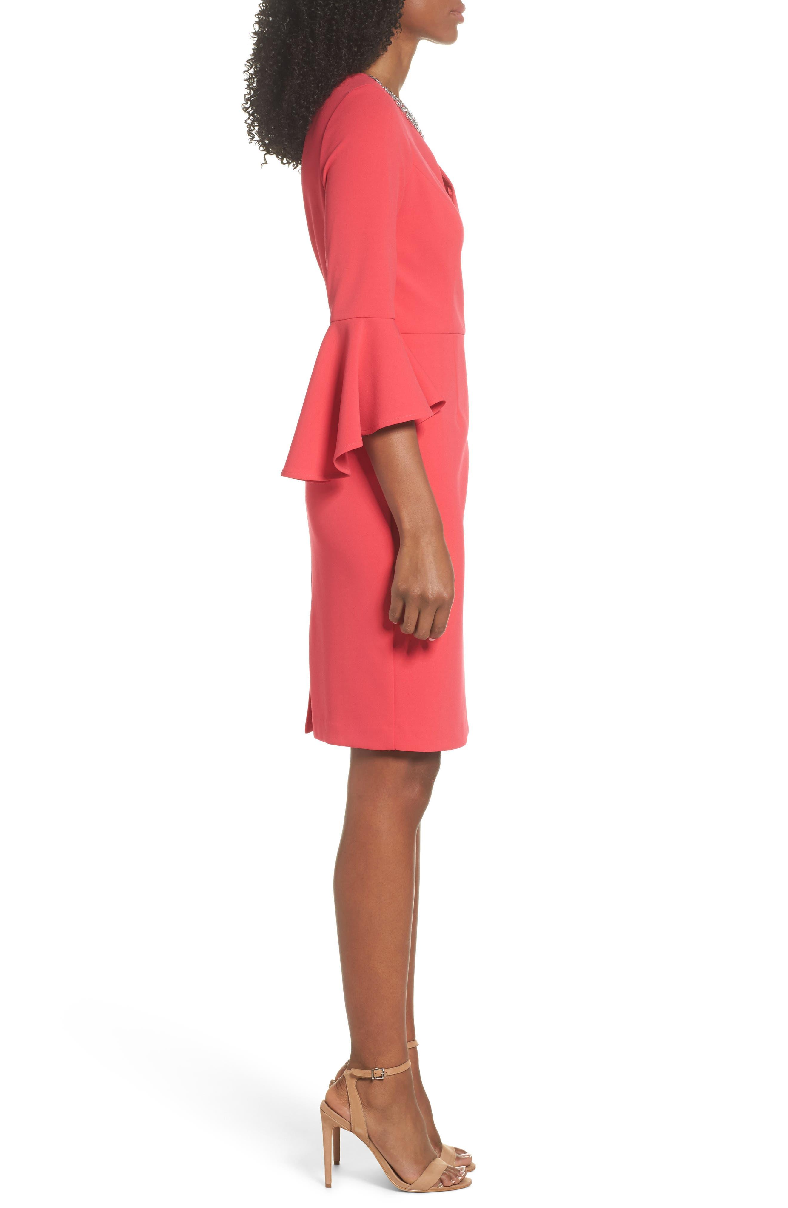 Embellished Bell Sleeve Sheath Dress,                             Alternate thumbnail 3, color,                             Berry