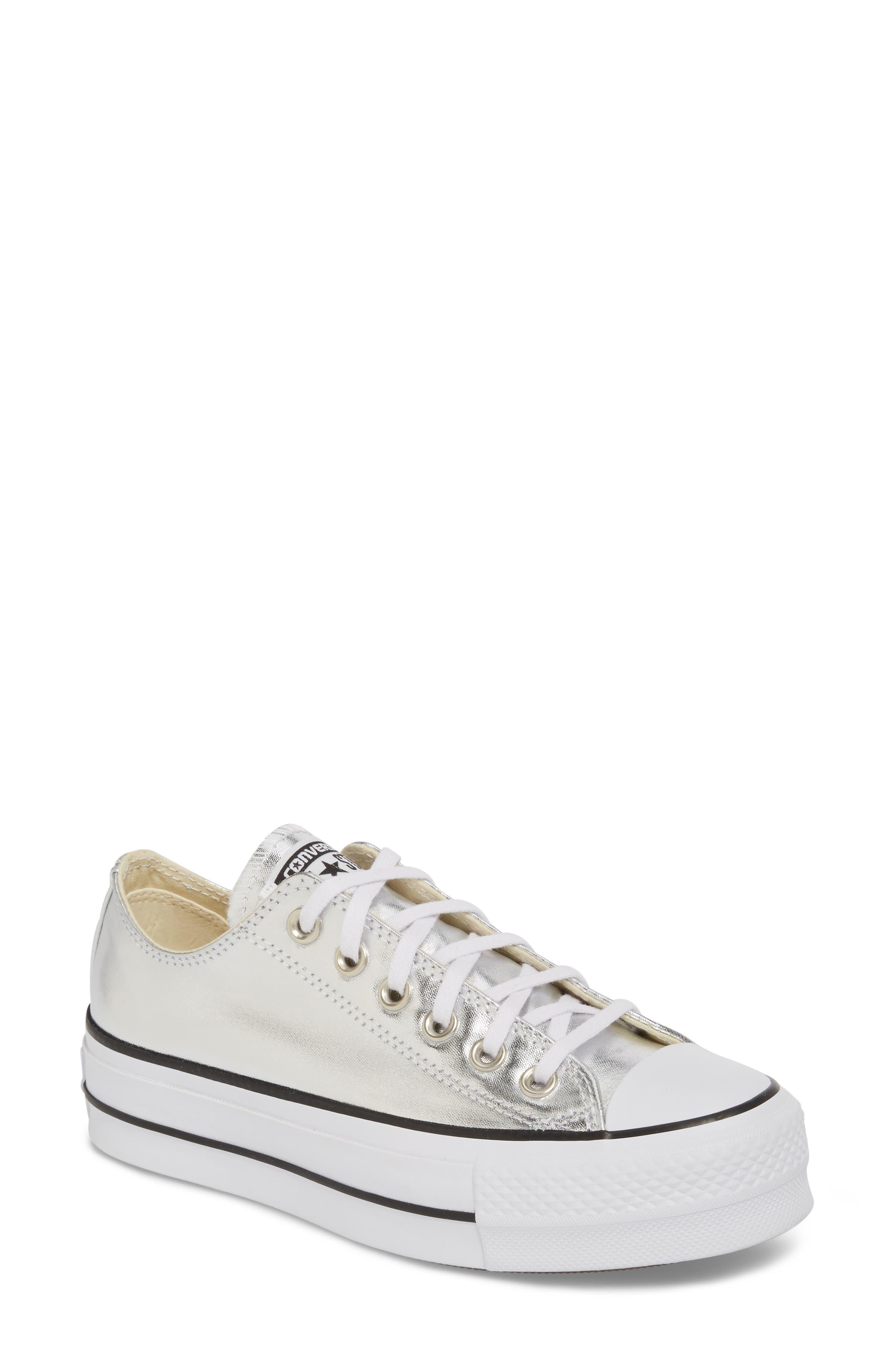 Chuck Taylor<sup>®</sup> All Star Platform Sneaker,                         Main,                         color, Silver/ Black