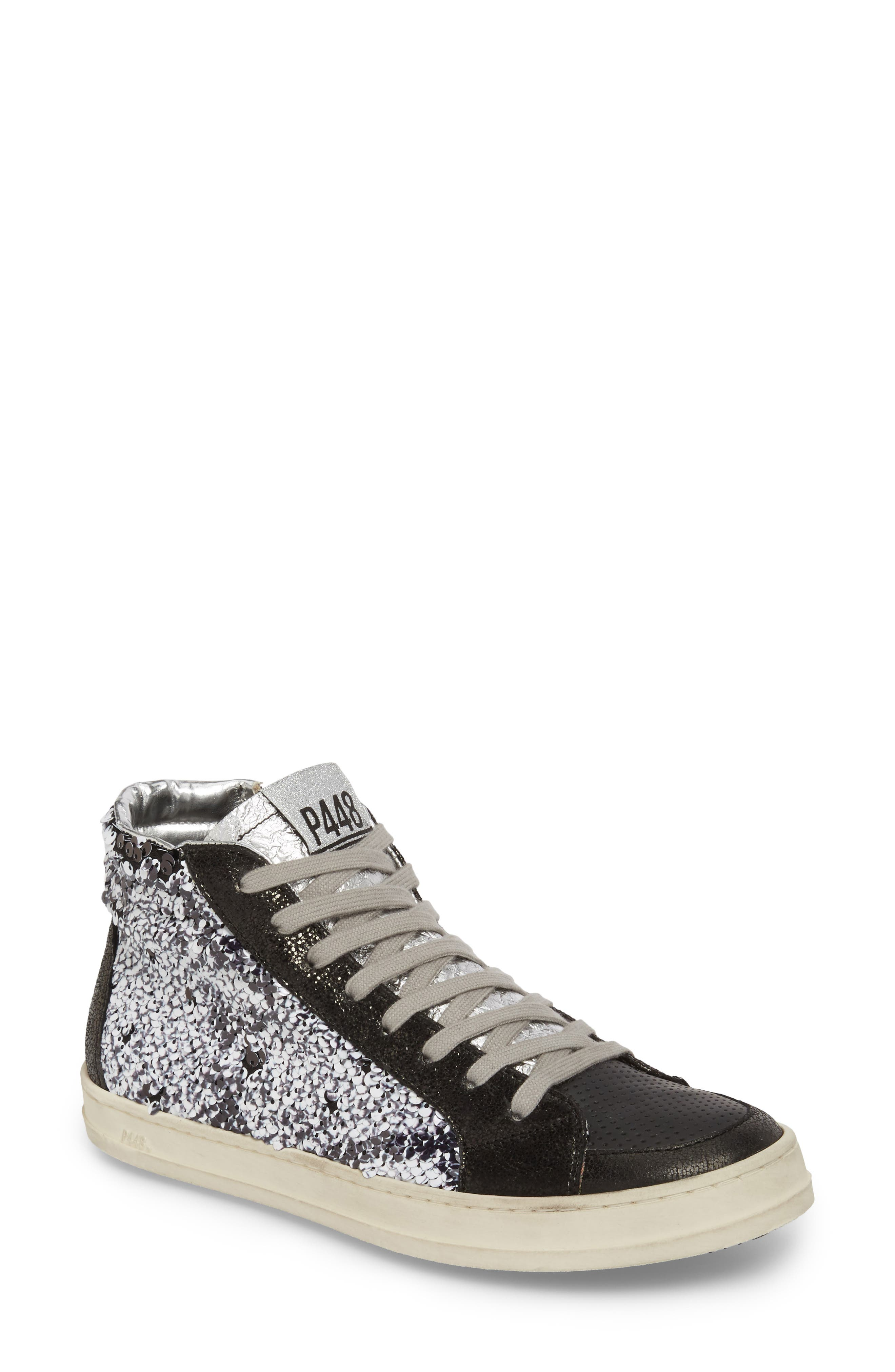 Skate Sequin High Top Sneaker,                         Main,                         color, Paillettes