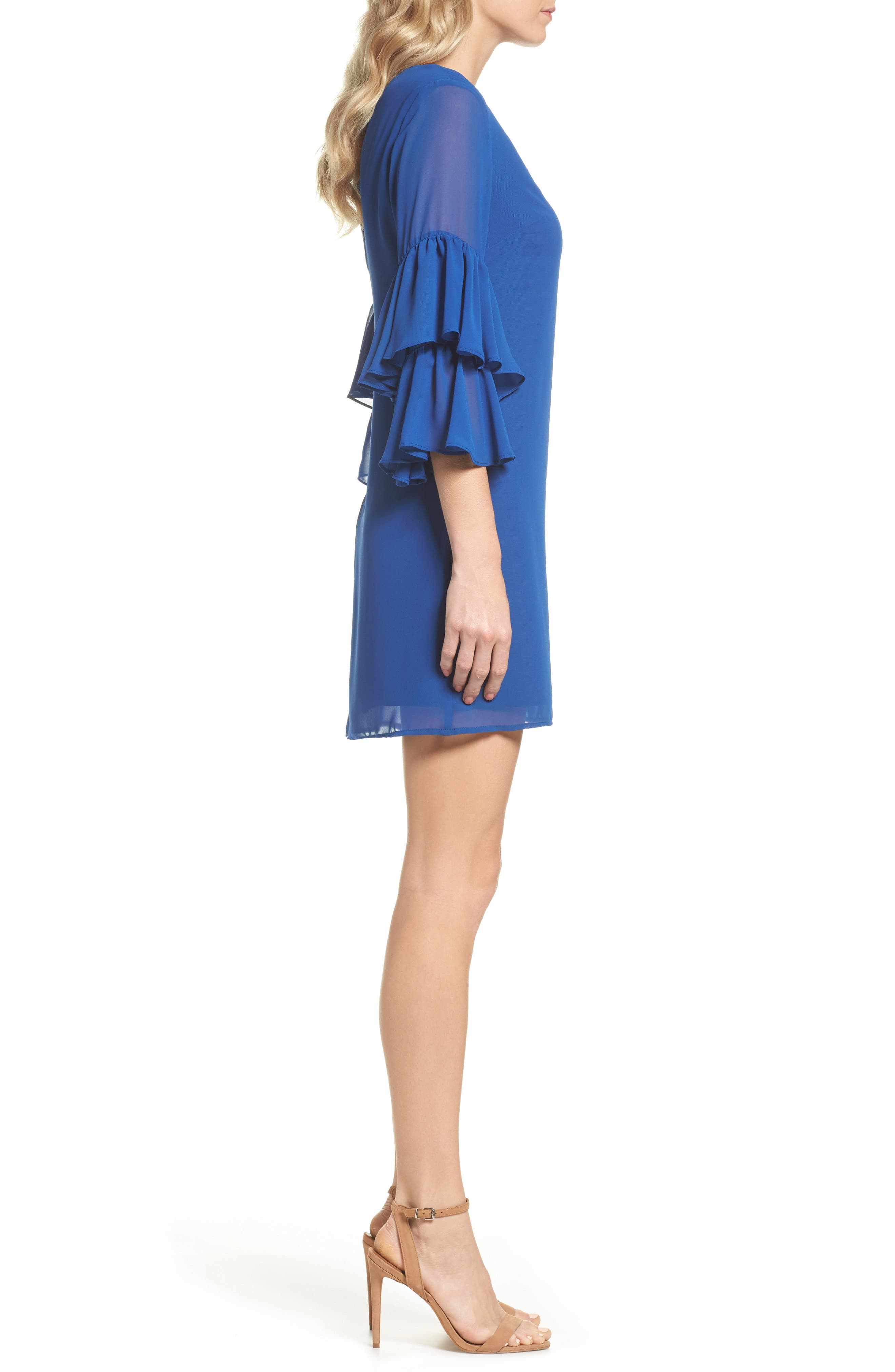Carmen Tiered Ruffle Sleeve Shift Dress,                             Alternate thumbnail 3, color,                             Deep Sapphire