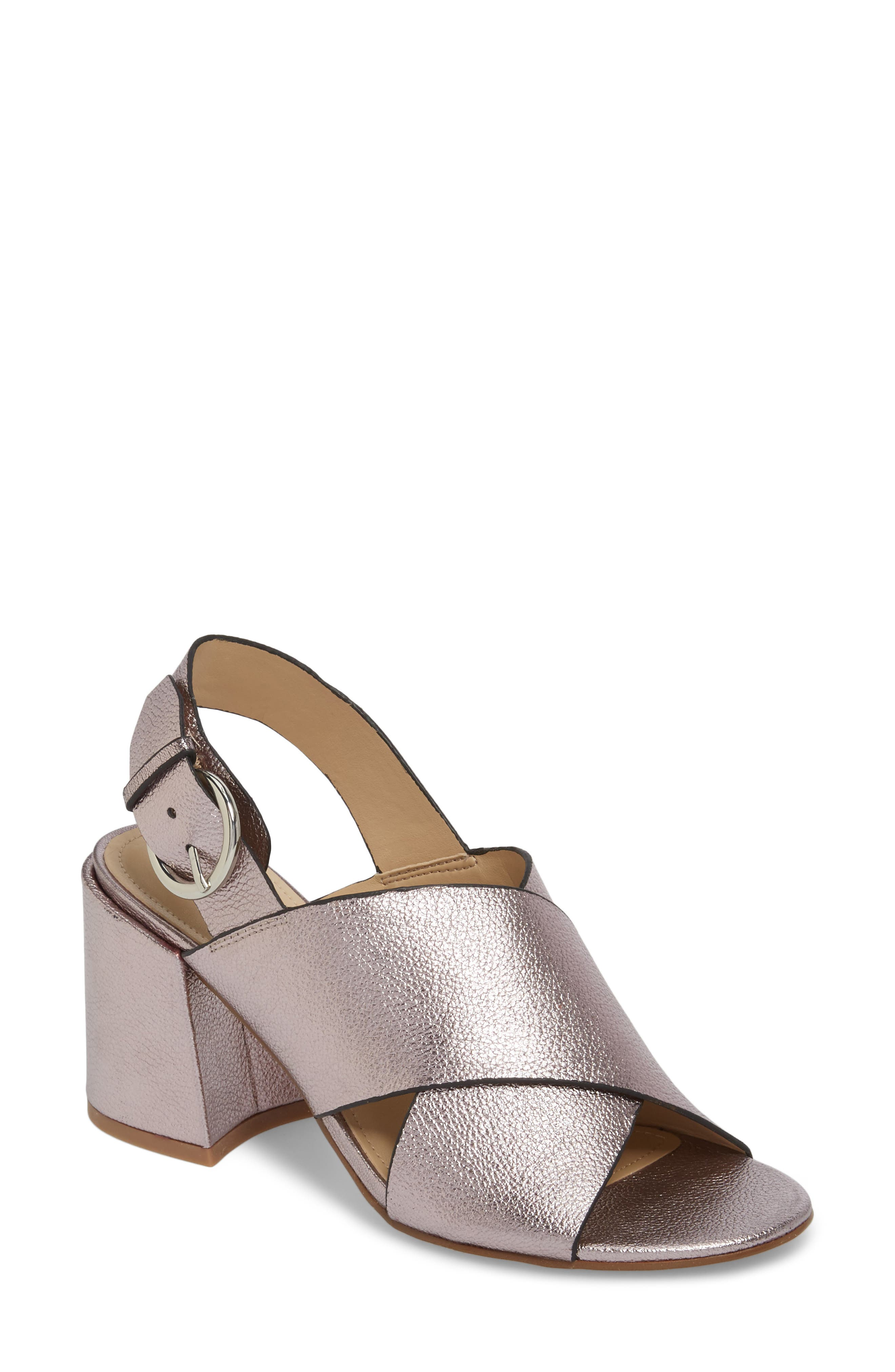 Hocie Slingback Sandal,                             Main thumbnail 1, color,                             Gold Leather
