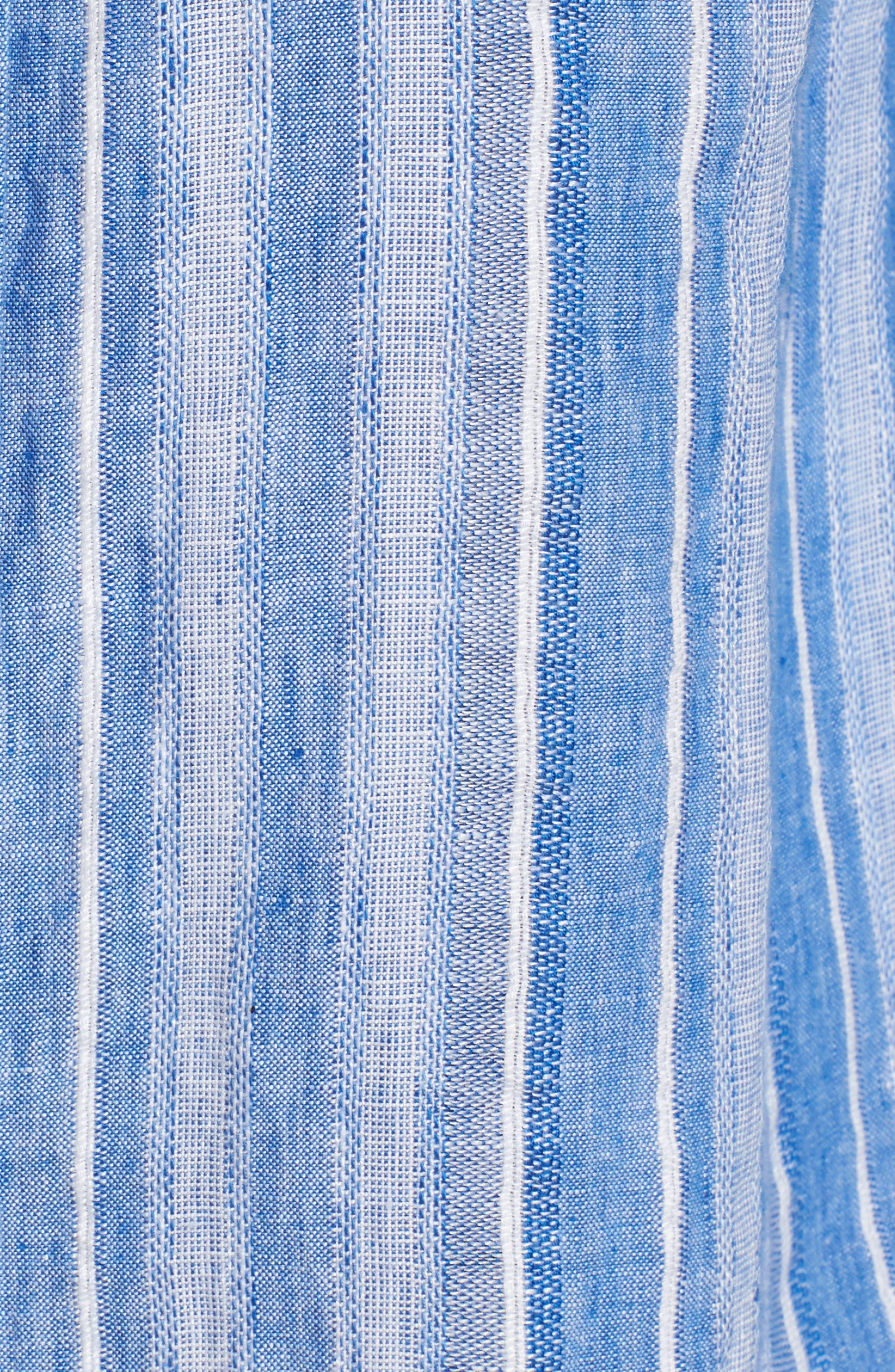 Santiago Stripe Linen Blend Shirt,                             Alternate thumbnail 5, color,                             Blue Sea