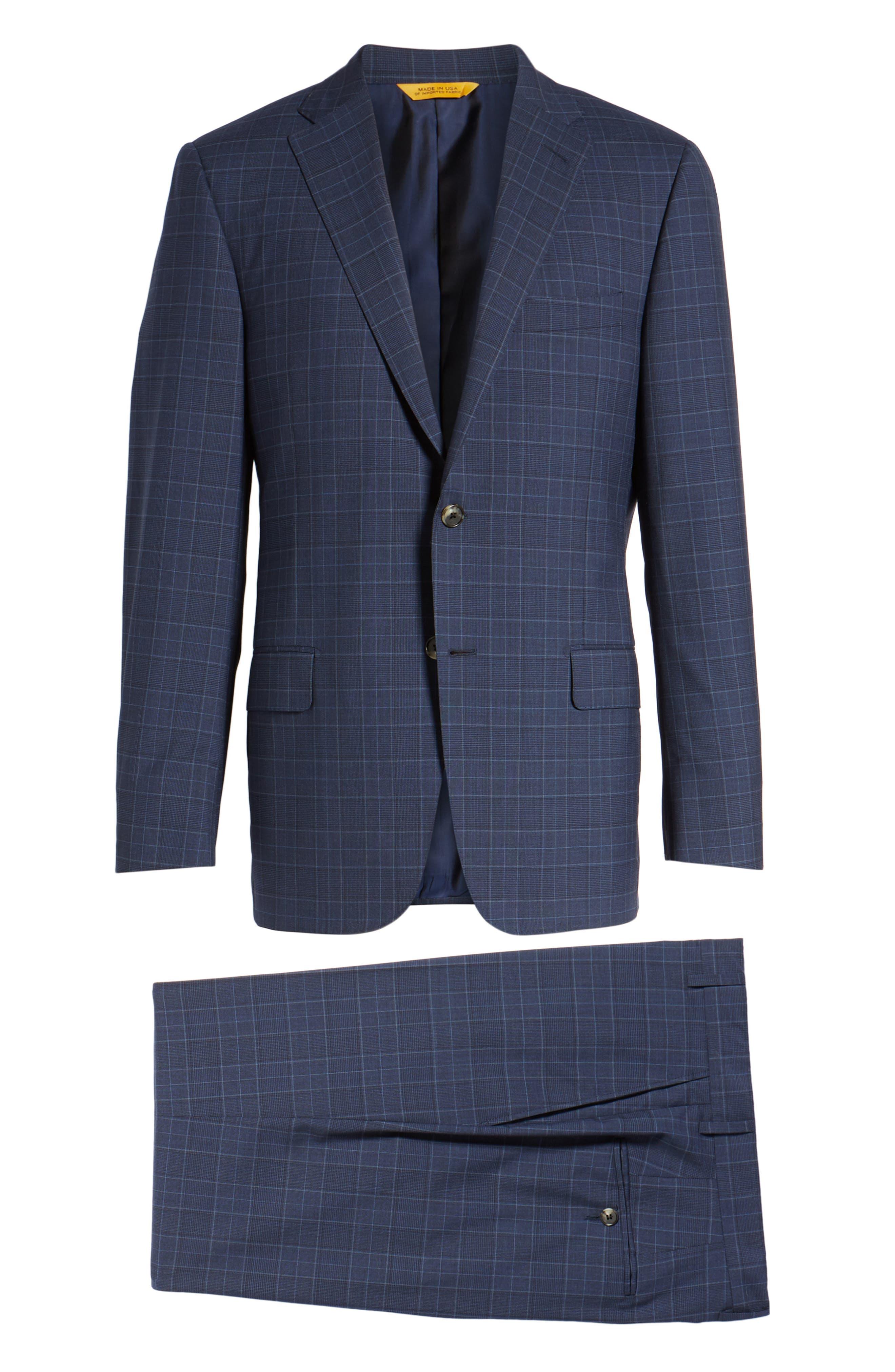 Classic B Fit Plaid Wool Suit,                             Alternate thumbnail 8, color,                             Blue